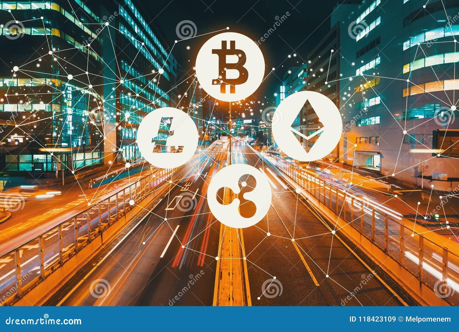 Cryptocurrency med suddig trafik för rörelse