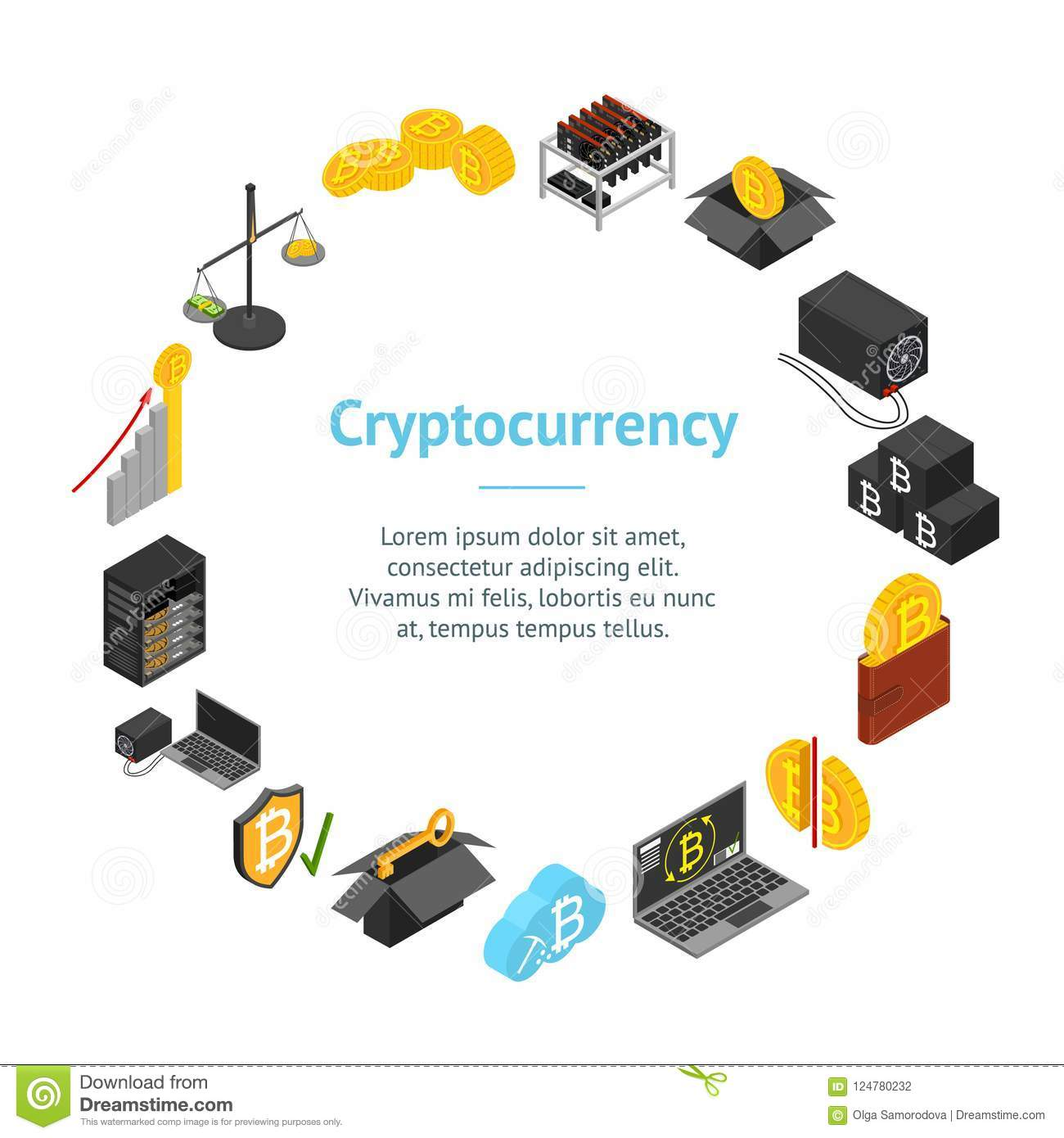 Cryptocurrency Mining Blockchain Banner Card Circle Isometric View. Vector