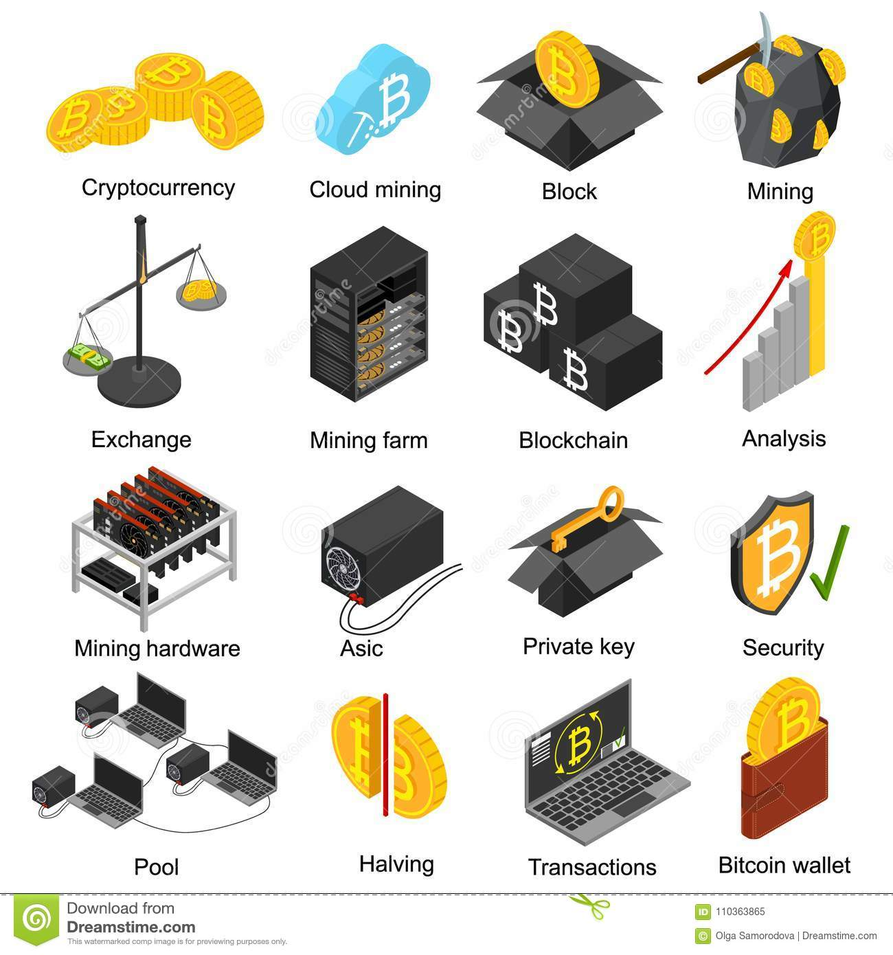 Cryptocurrency Mining Blockchain 3d Icons Set Isometric View