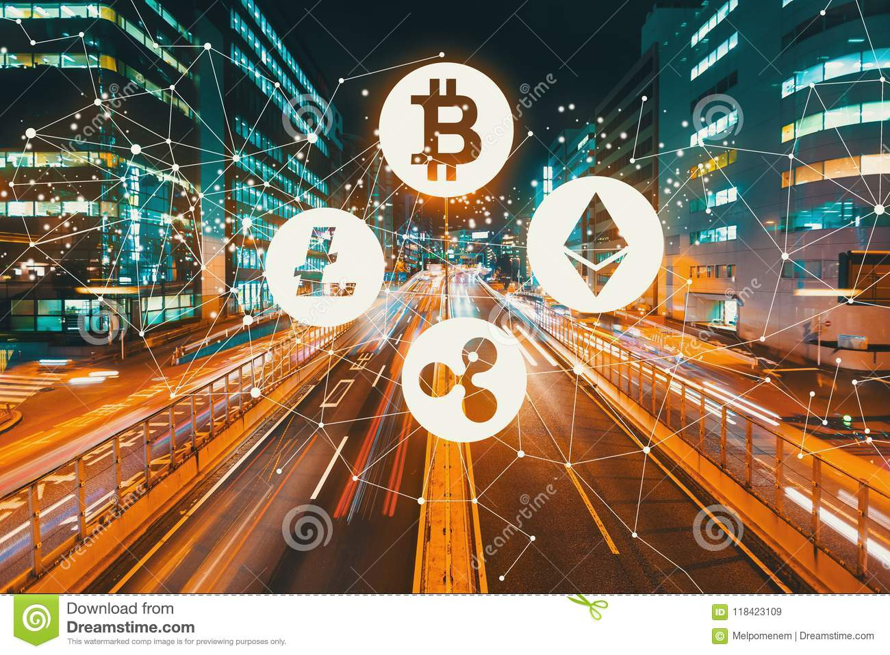 Cryptocurrency with motion blurred traffic