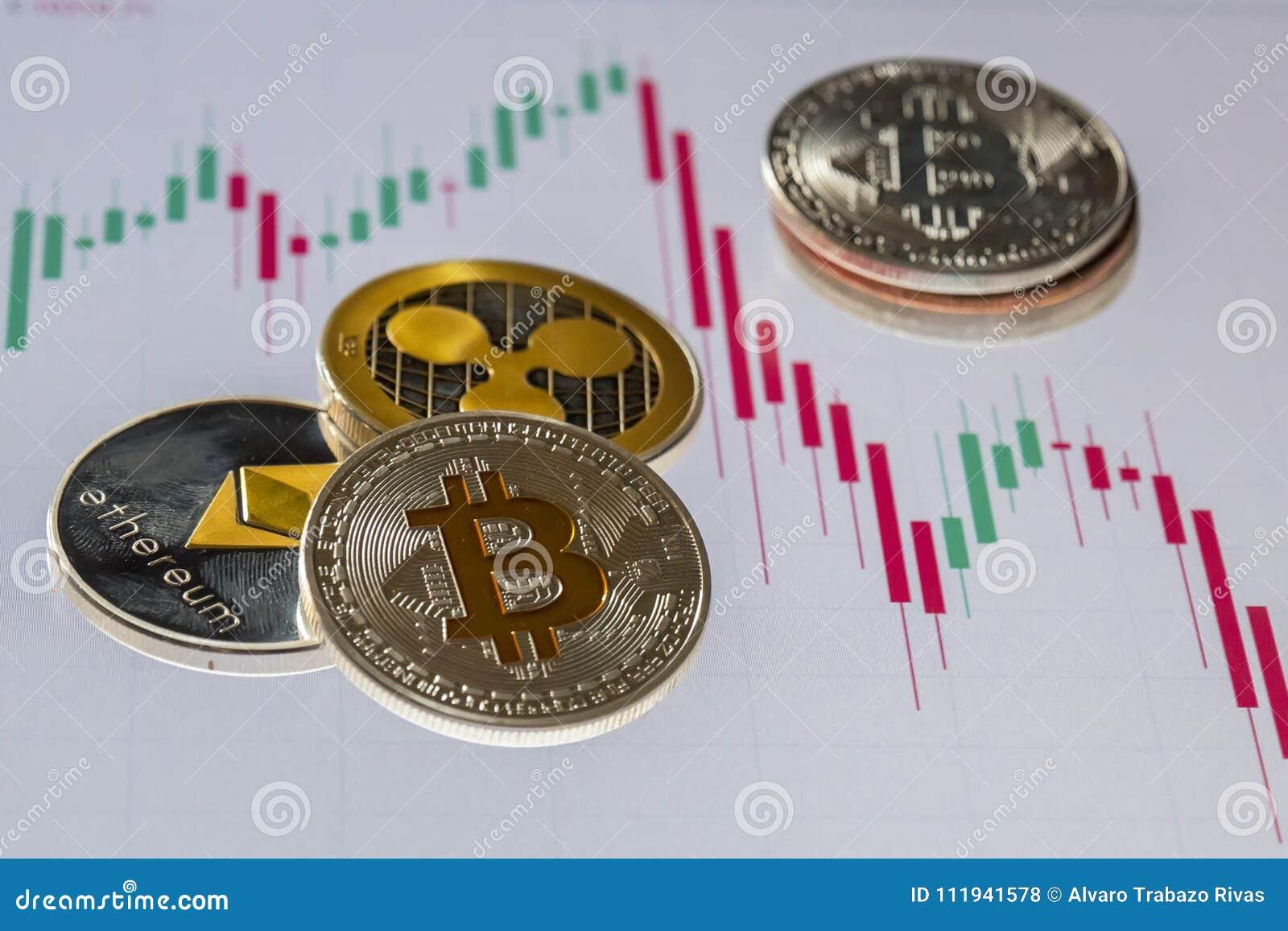 Cryptocurrency mynt över handel undersöker den grafiska skärmen; Bitcoi