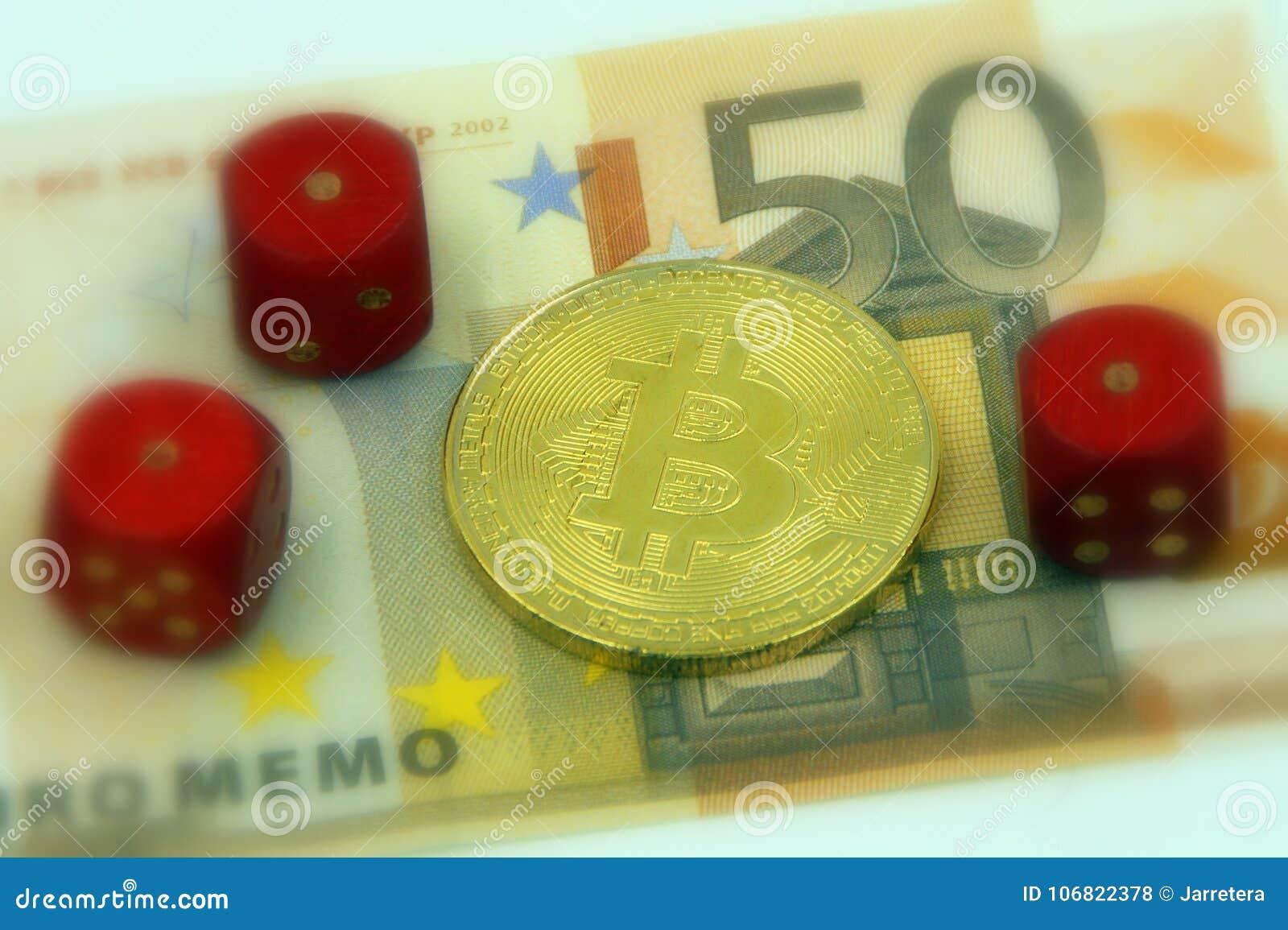 Cryptocurrency physique d or de bitcoin et 3 paires avec 1 matrice