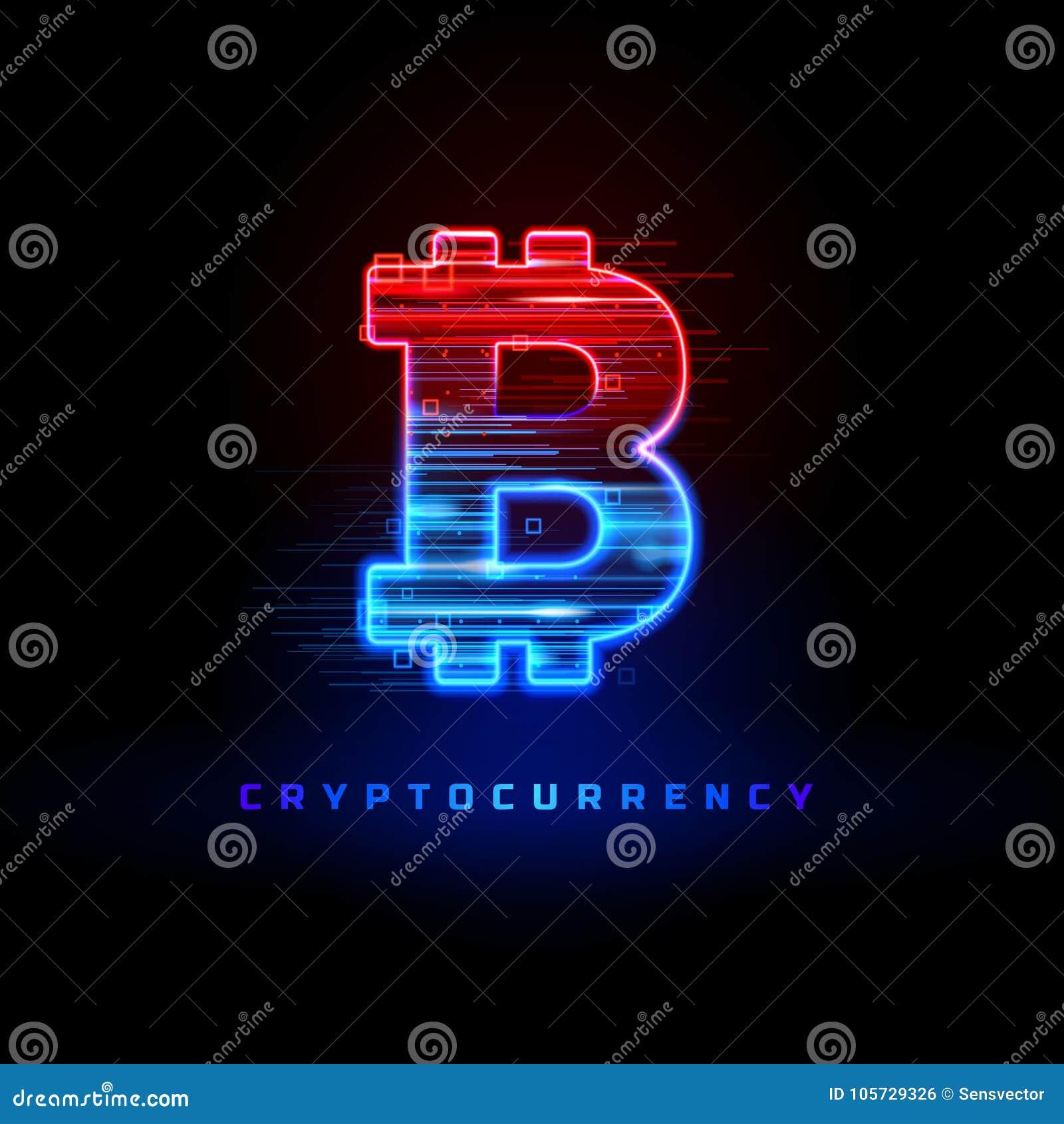 Cryptocurrency pojęcie Textured neonowego światła znak z neonowymi liniami, geometryczne postacie Ruch cząsteczki przepływ
