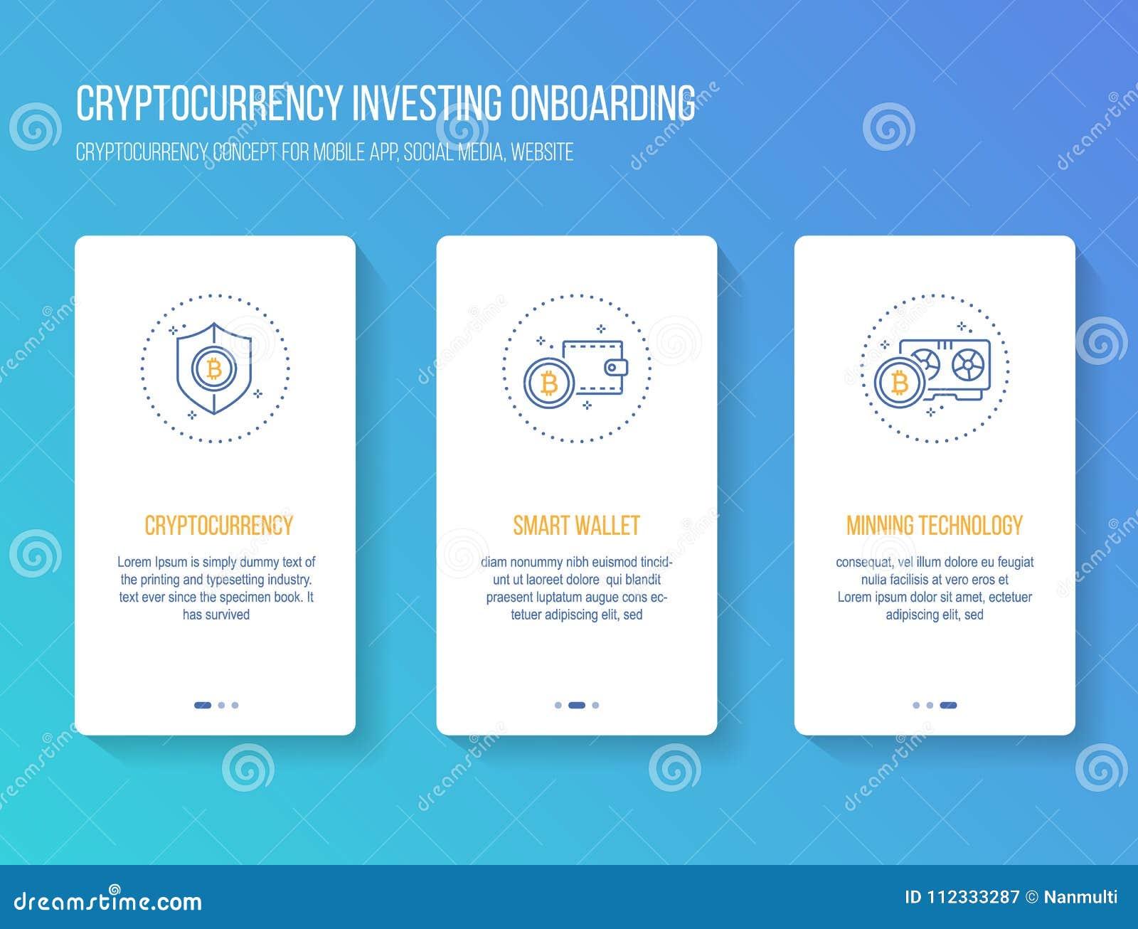 Cryptocurrency que invierte recorrido móvil onboarding del app defiende concepto moderno, limpio y simple Plantilla del ejemplo d