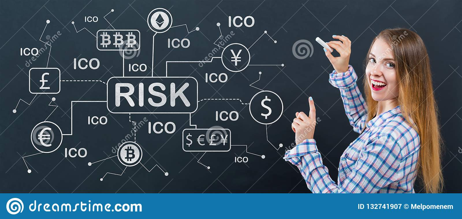 Cryptocurrency risk theme with young woman