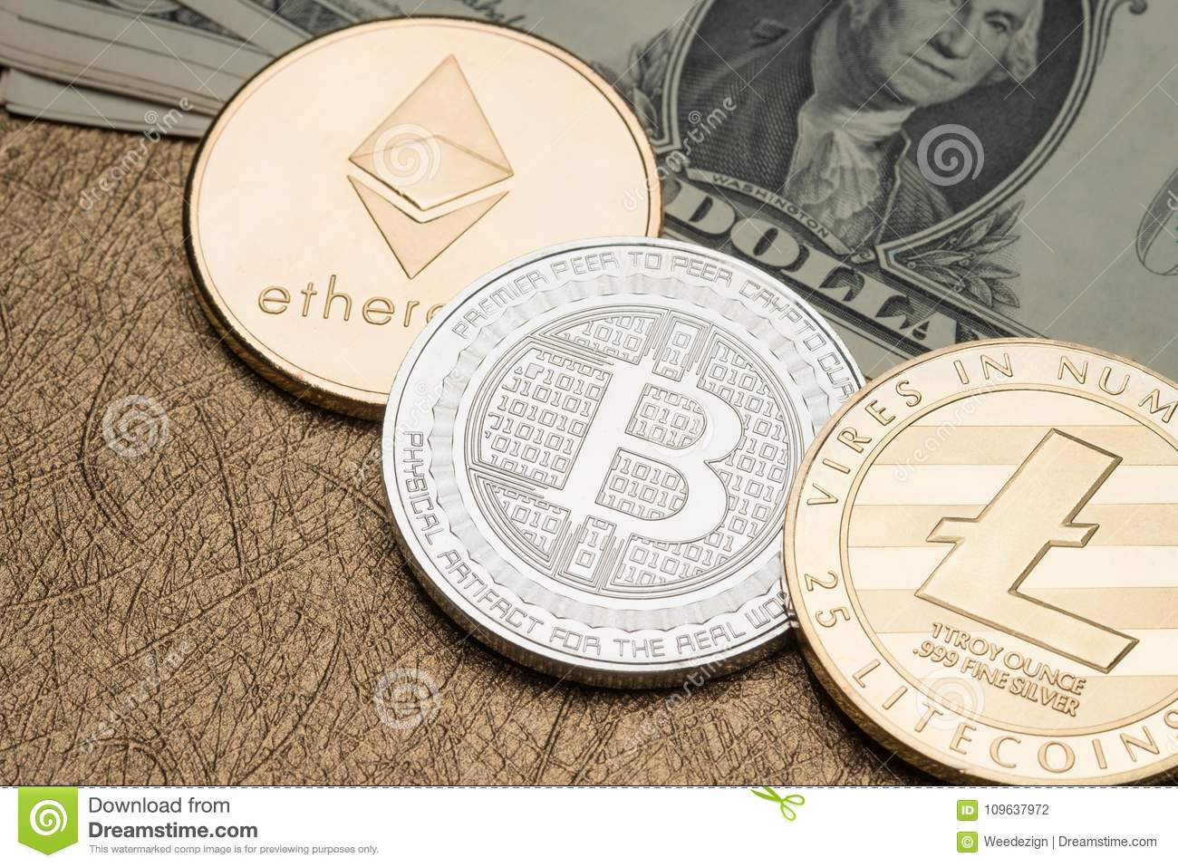 Cryptocurrency Silver And Gold Bitcoin,litecoin,ethereum On Doll