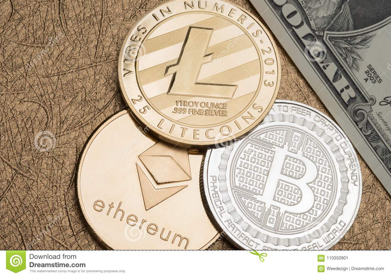 Cryptocurrency Silver And Gold Bitcoin,litecoin,ethereum On