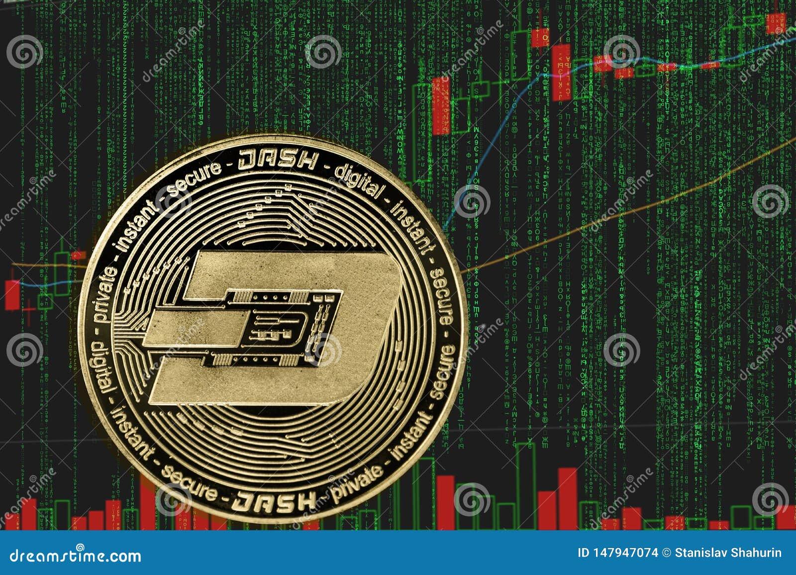 Cryptocurrency symbolique de tiret sur le fond du cryptos texte de matrice et diagramme binaires des prix