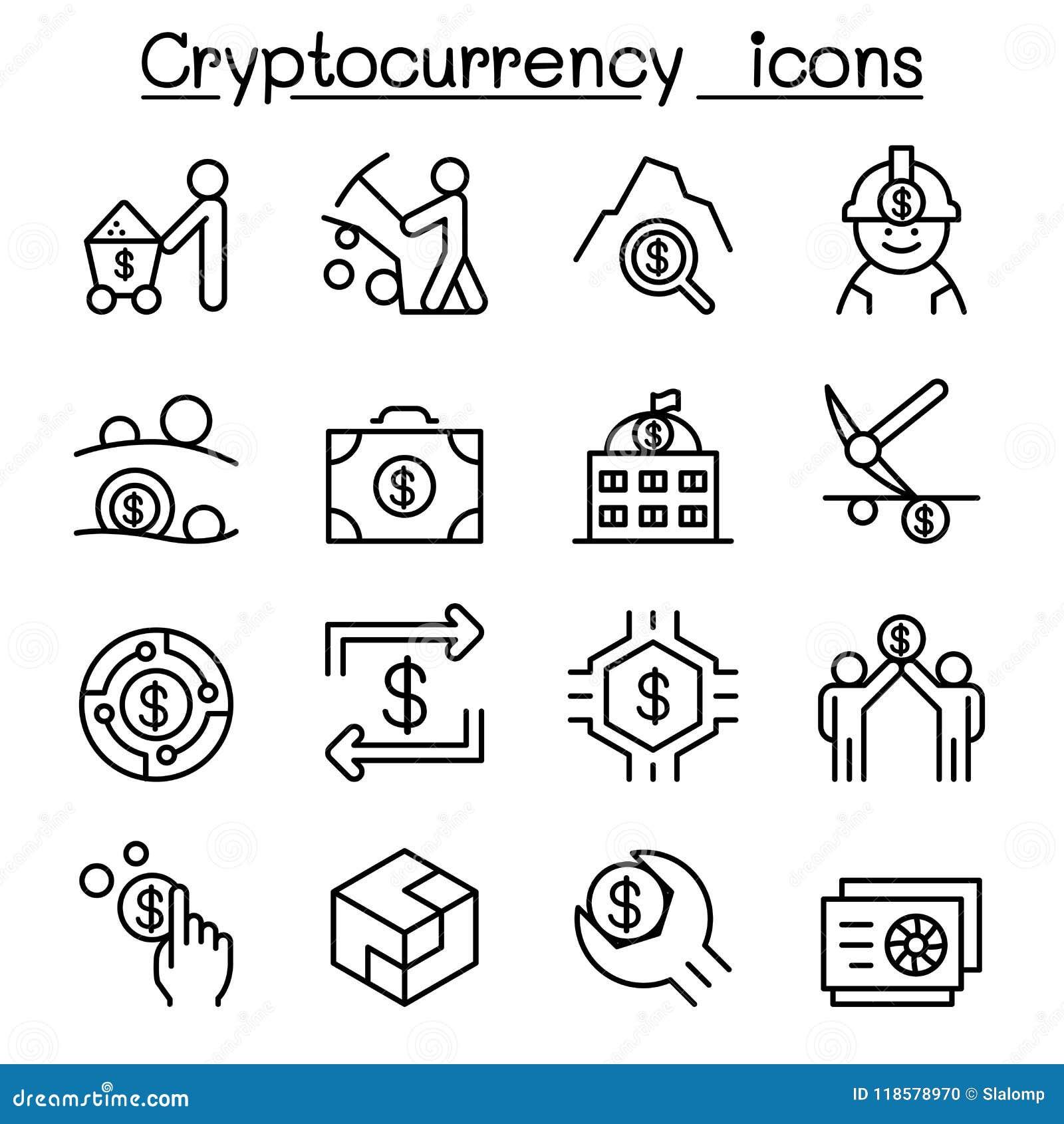 Cryptocurrency symbolsuppsättning i den tunna linjen stil