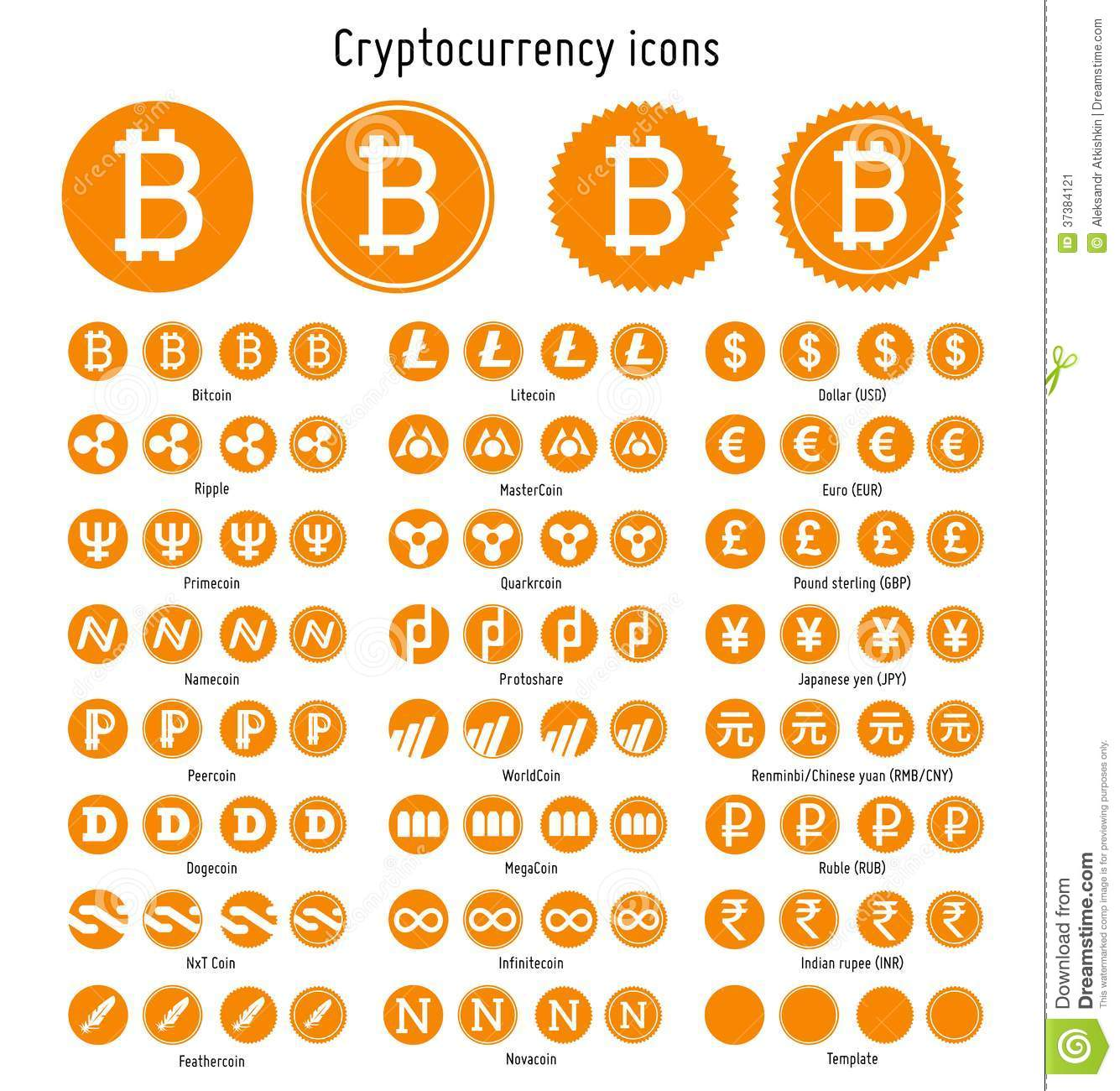 Cryptocurrency Vector Icons Stock Image Image 37384121
