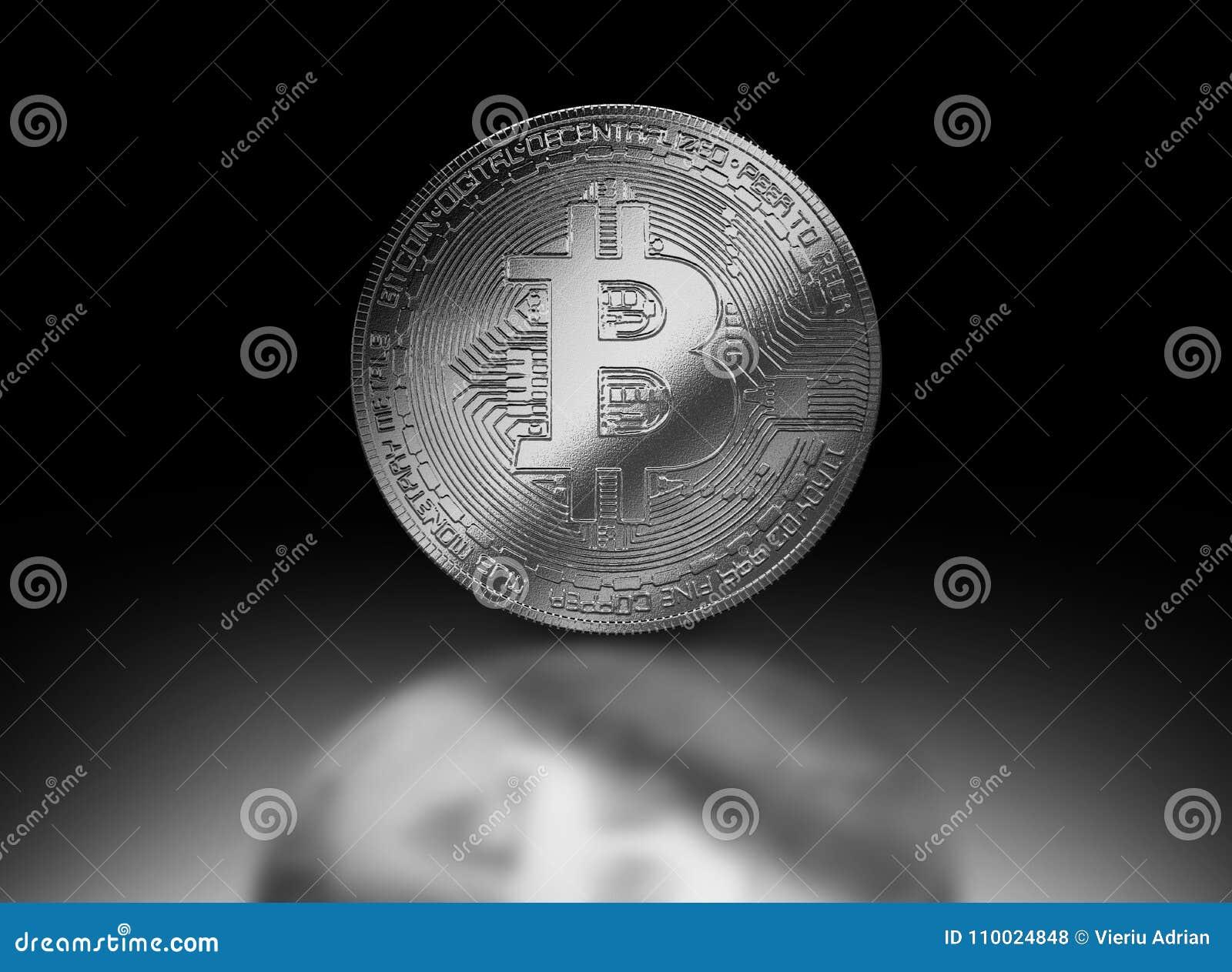 Cryptocurrencyillustratie van het Bitcoin zilveren muntstuk