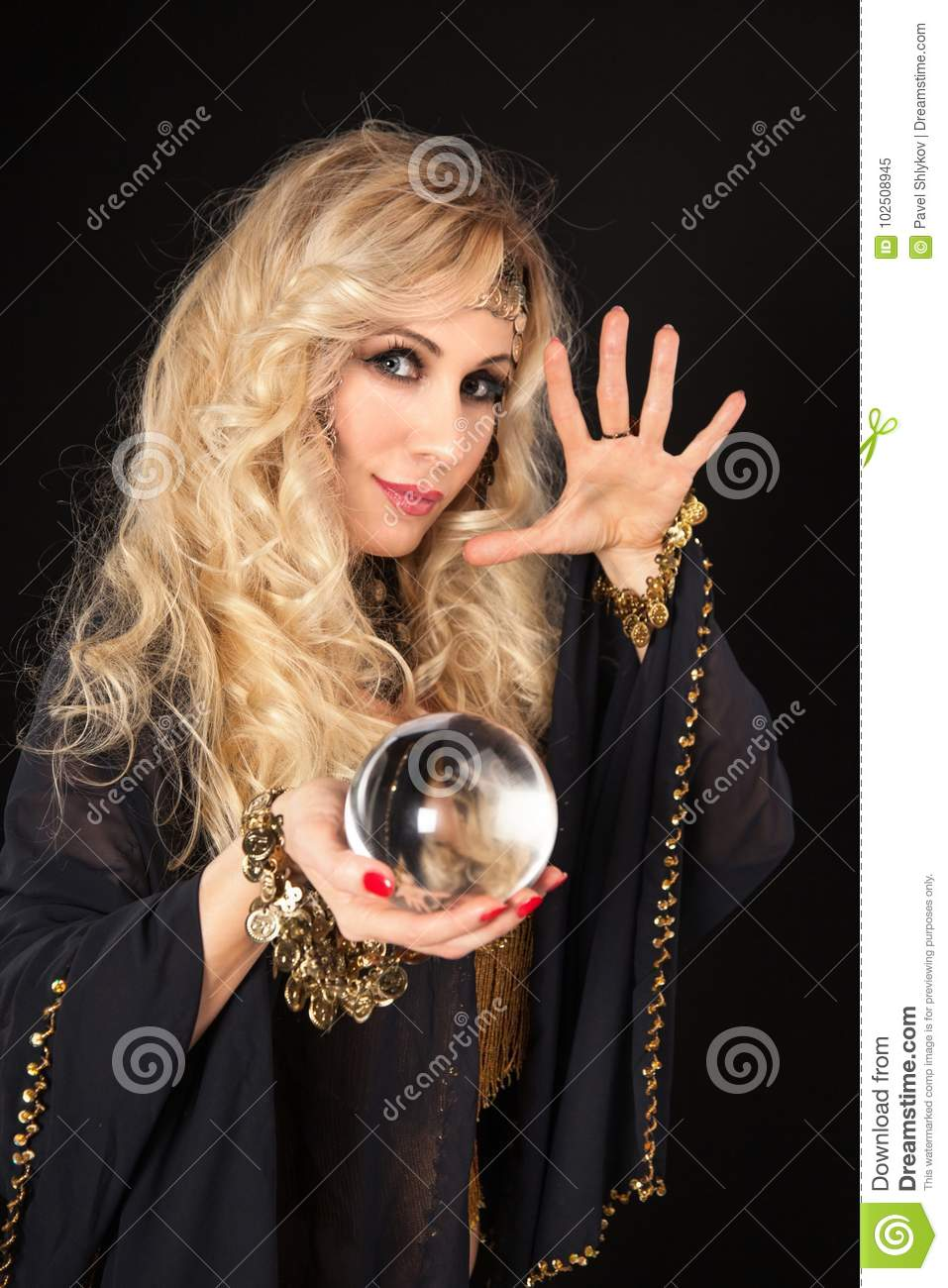 Crystal Ball And Fortune Teller Hands  Stock Image - Image