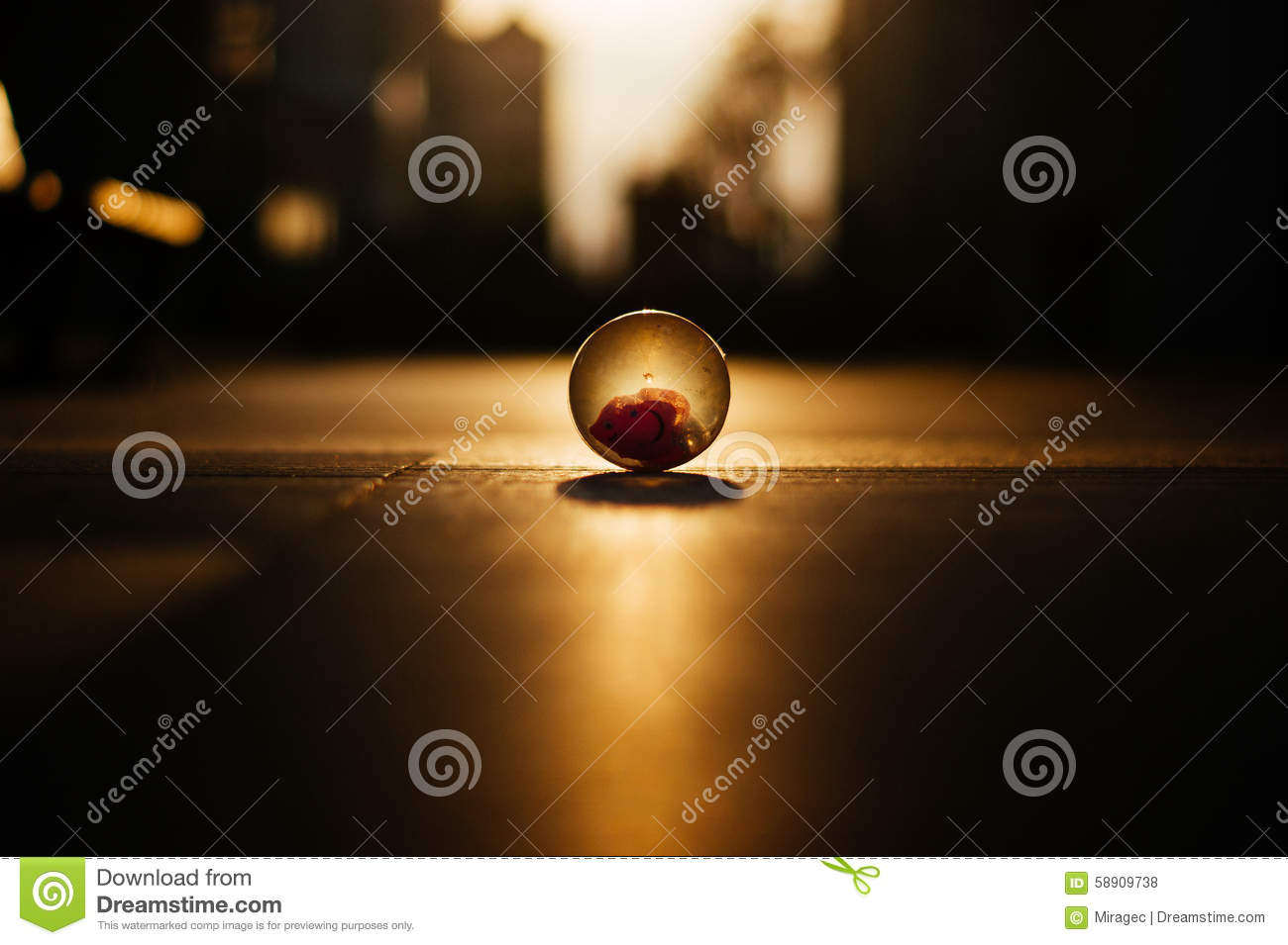 Crystal Ball on cityscape square Horizon sunrise