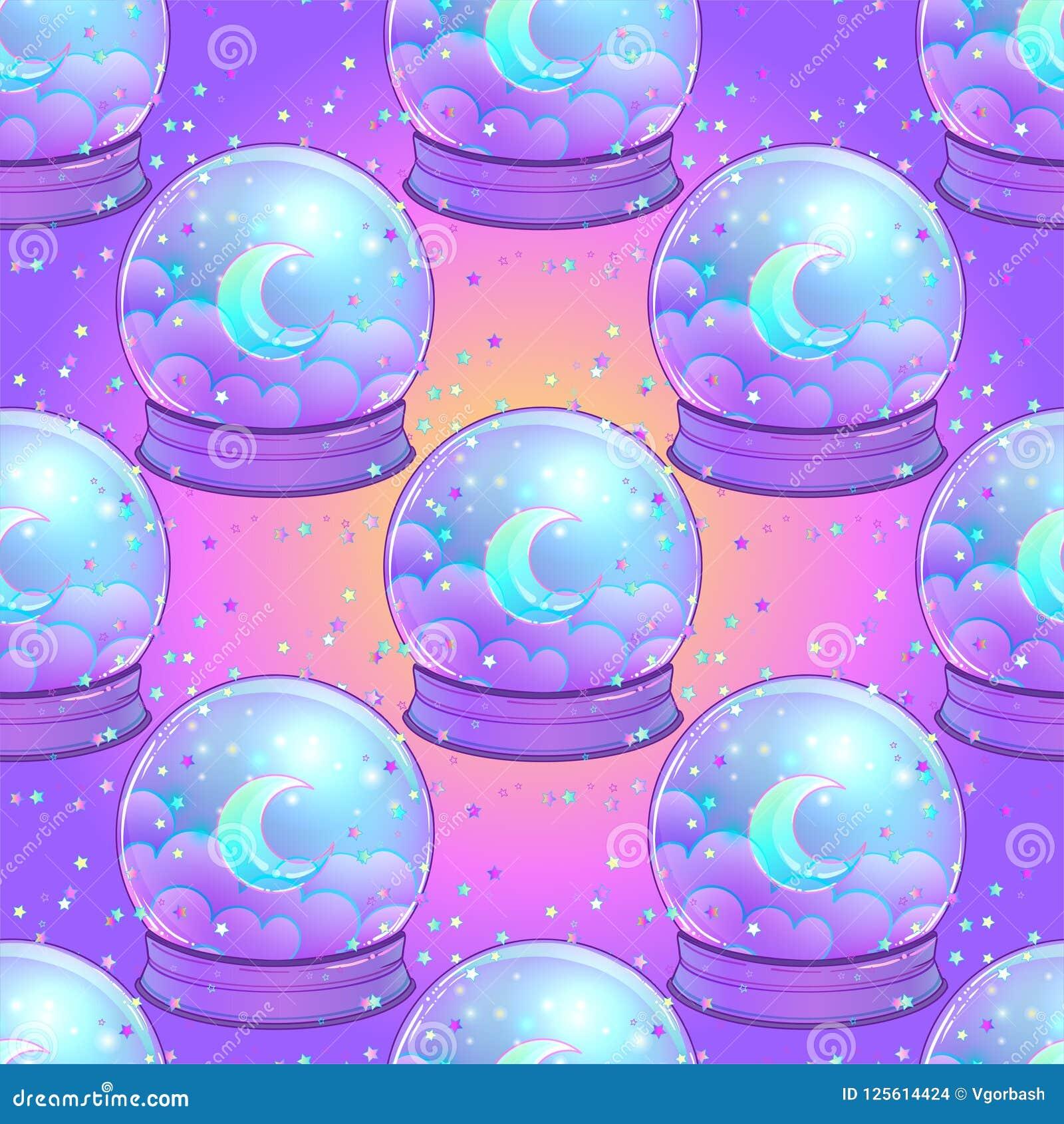 Crystal Ball com com a lua do arco-íris e as estrelas coloridas sem emenda