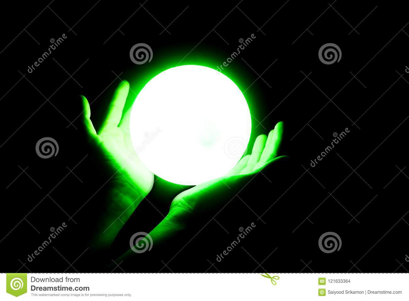 Crystal ball on the hand stock photo  Image of fate - 121633364