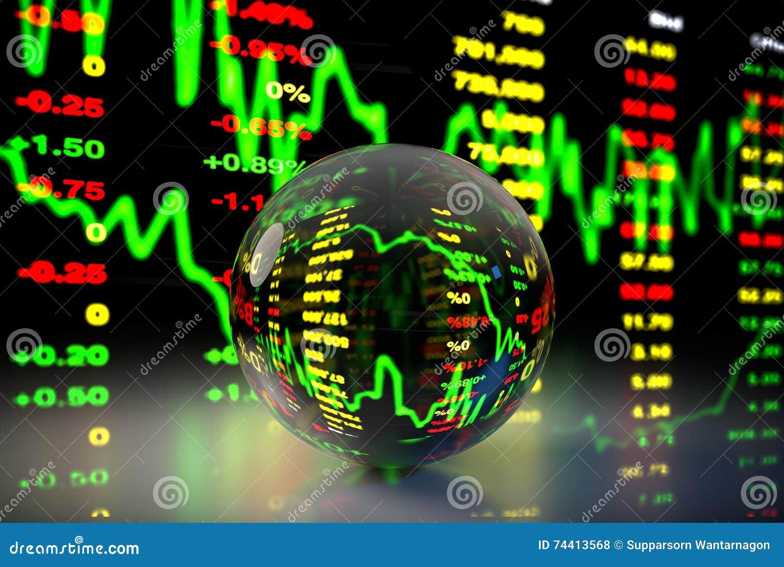Crystal Ball med aktiemarknaddiagrambakgrund, tolkning 3D
