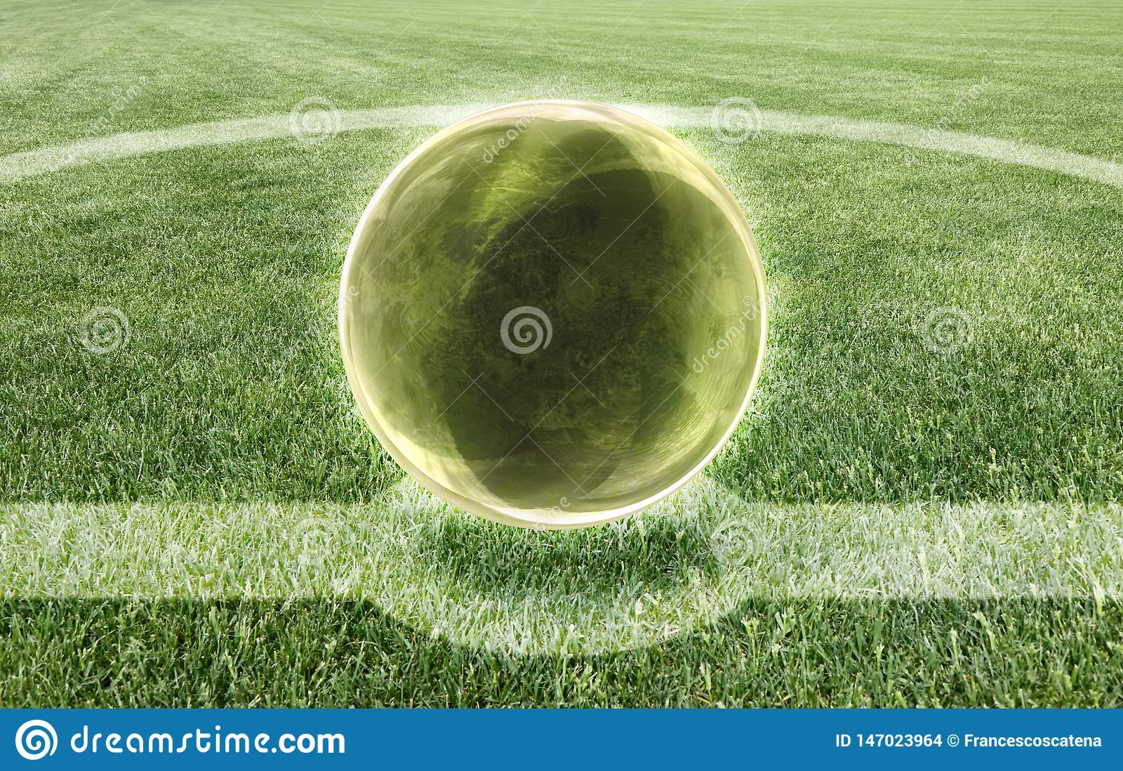 The crystal ball in the middle of a football field - Prediction of result concept image