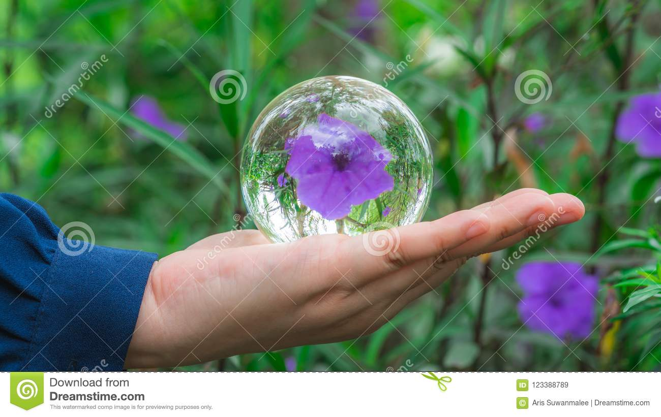 Crystal Ball With Purple Flower