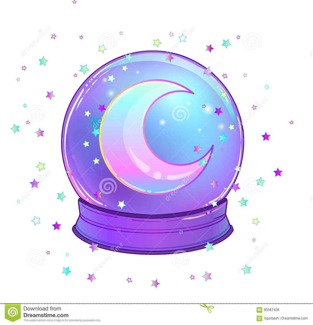 Crystal Ball with with rainbow moon and colorful stars