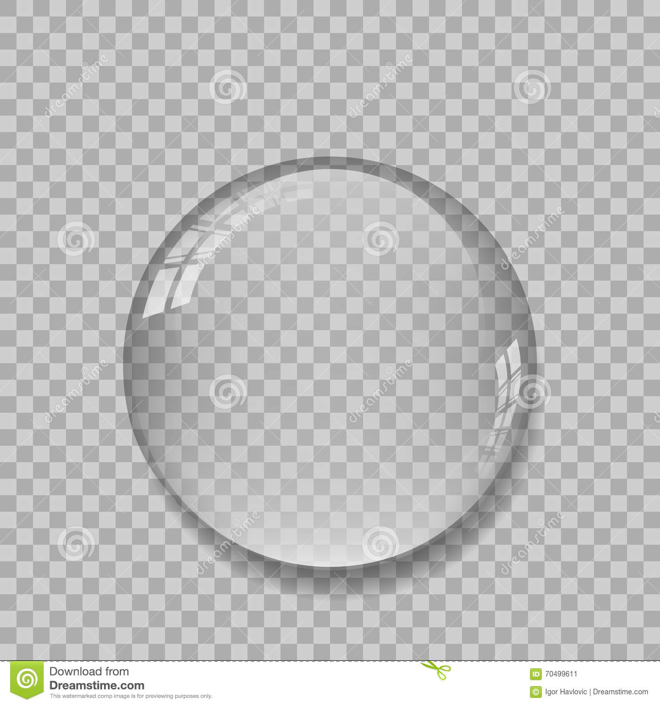 Crystal Ball With Reflections On Transparent Background