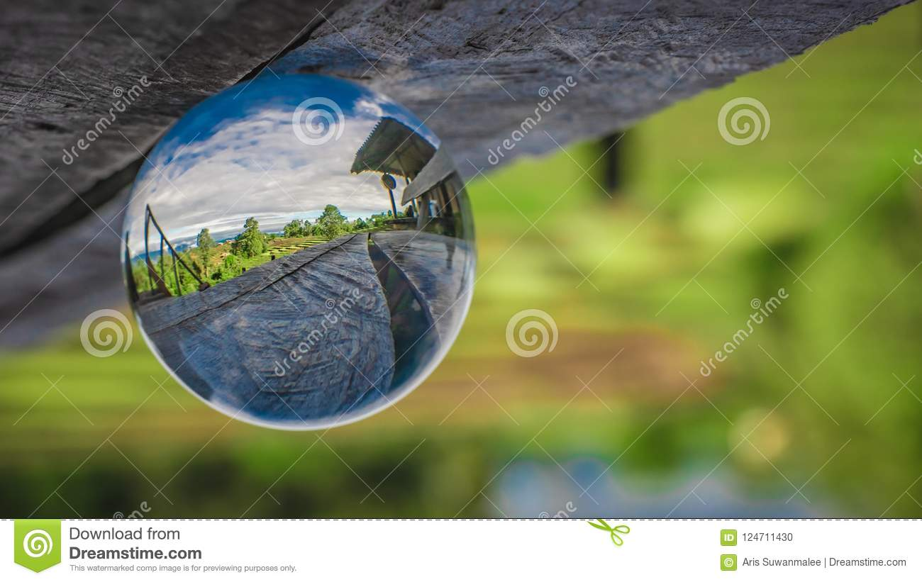 Crystal Ball With Wooden Terrace