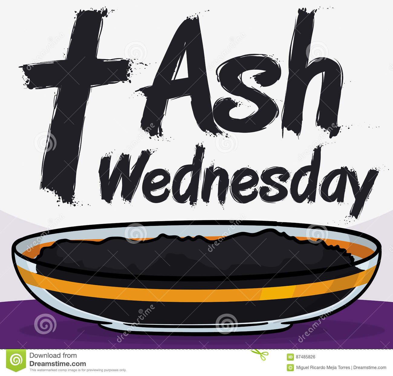 Crystal bowl with ashes for ash wednesday celebration vector poster with cross greeting message crystal bowl with blessed ashes ready for the lent beginning with the first event that is ash wednesday m4hsunfo
