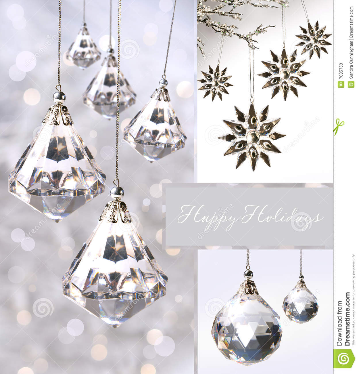 crystal christmas ornaments against silver - Crystal Christmas Decorations