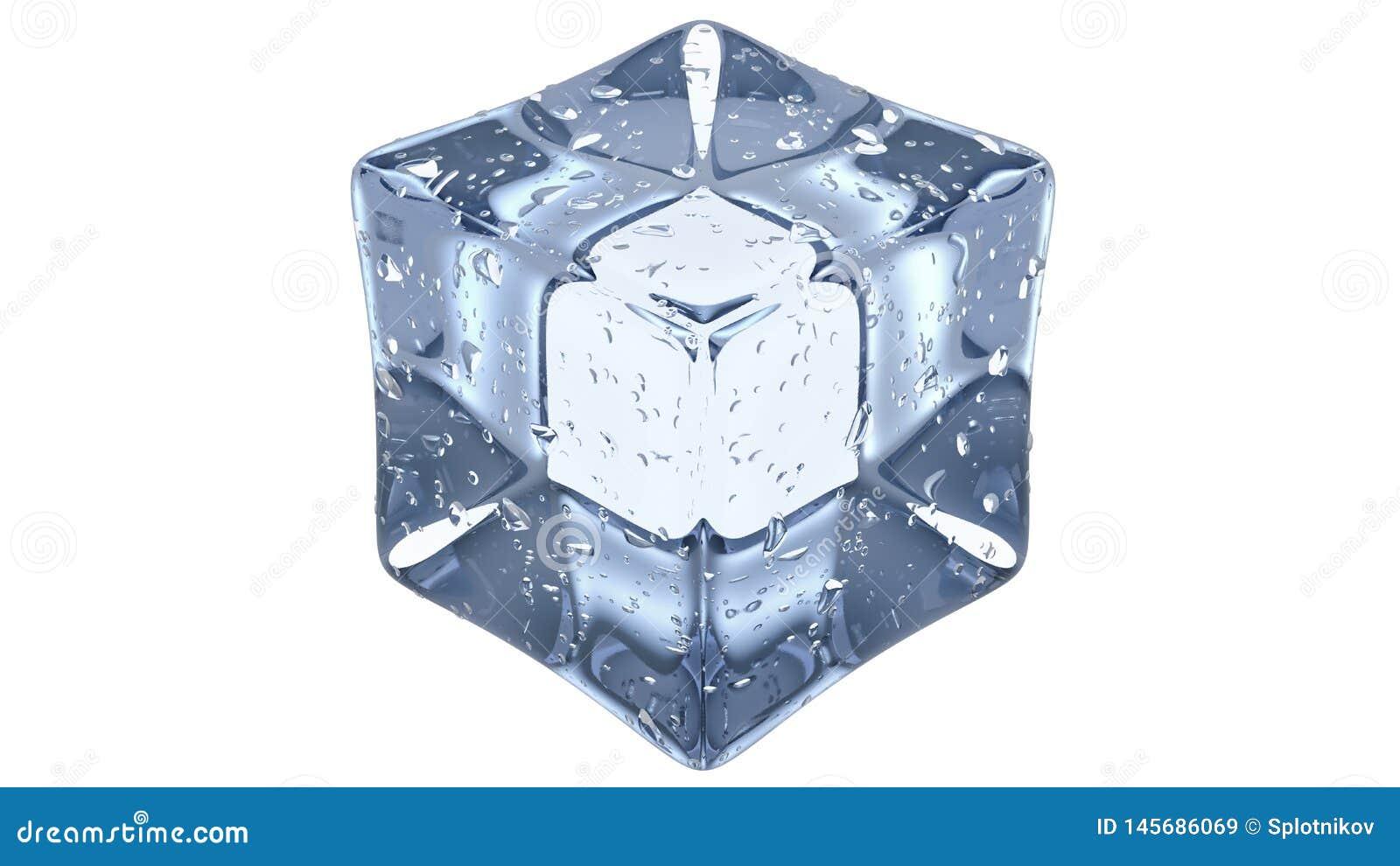 Crystal Clear Artificial Acrylic Ice cuba a forma quadrada 3D rendem em um fundo branco