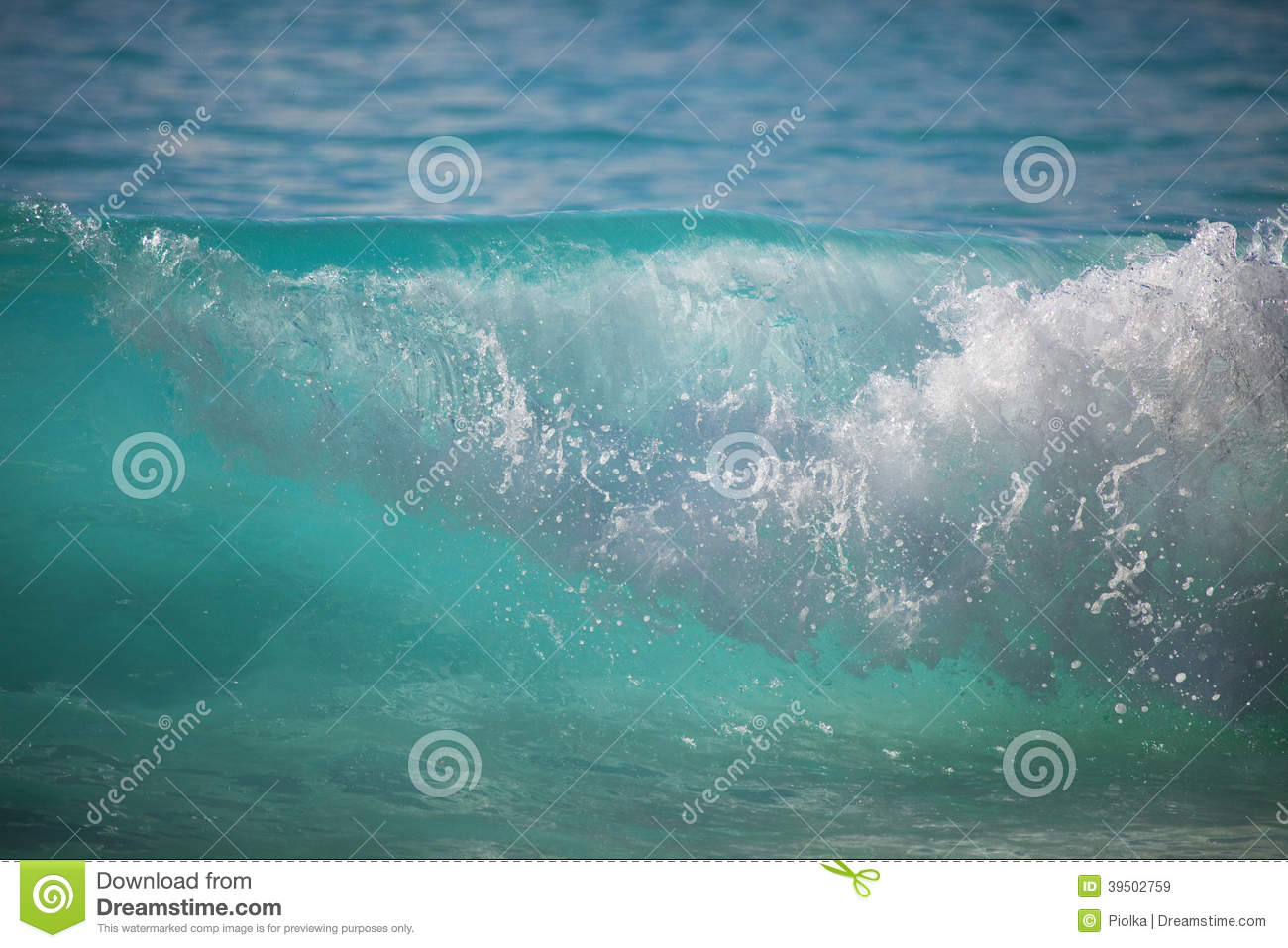 Crystal clear wave at the beach