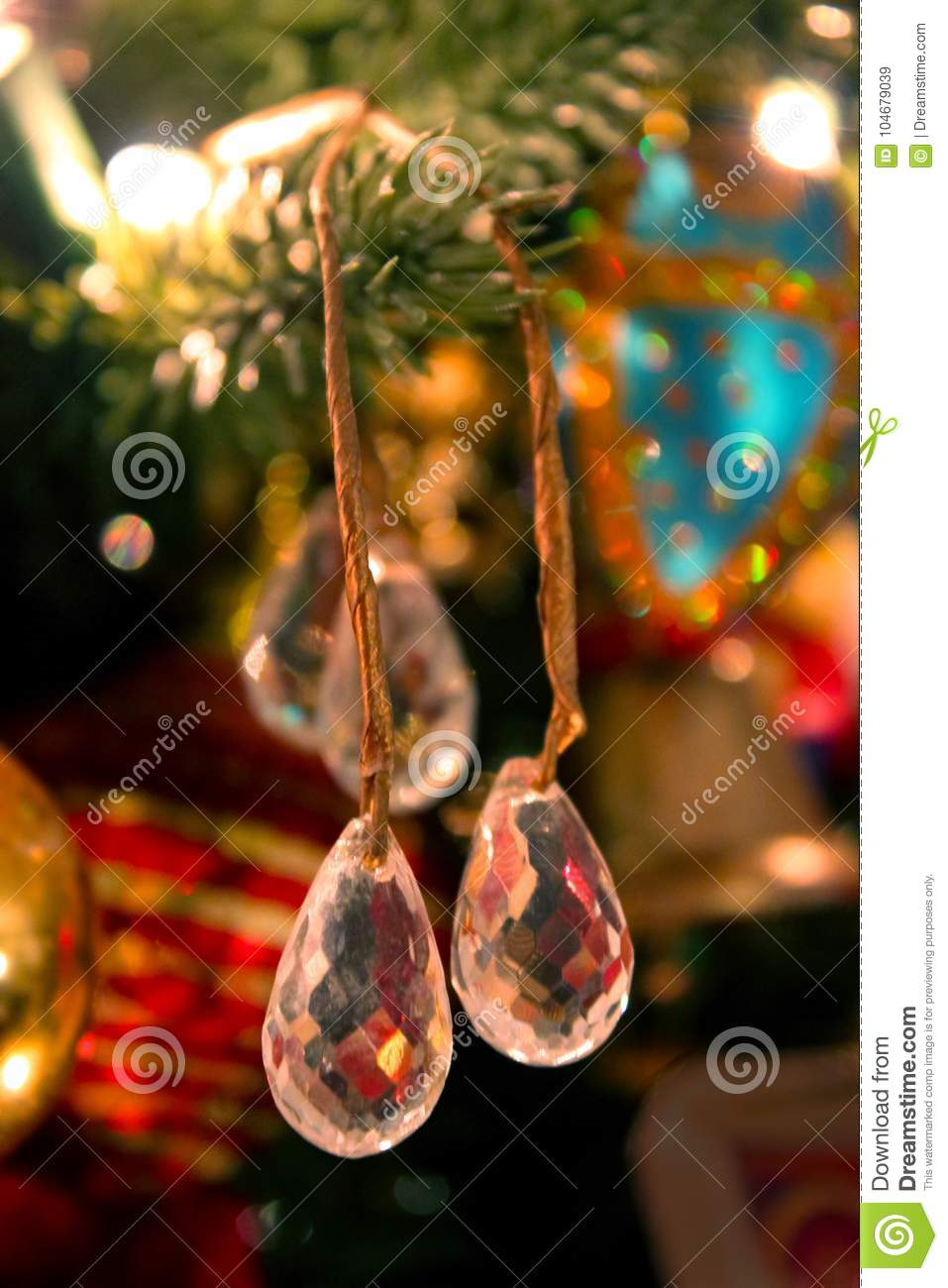 Crystal Drops On Old Fashioned Christmas Tree Stock Image - Image of ...