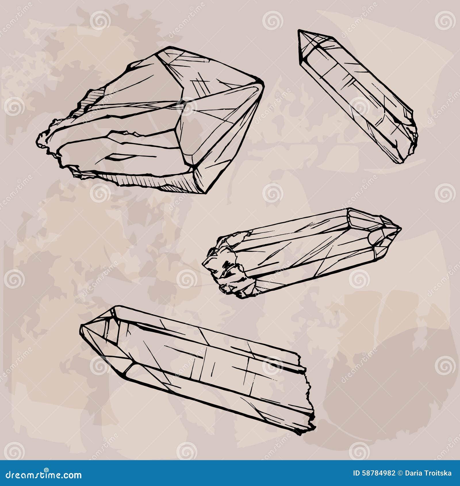 Crystal Gems Logo Icon:  Crystal Gems Sketch Illustration Stock Vector