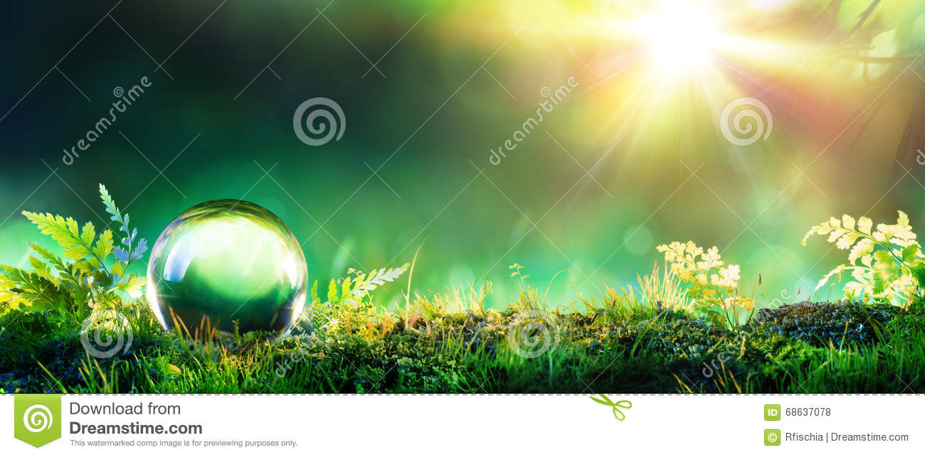 Crystal Green Globe On Moss