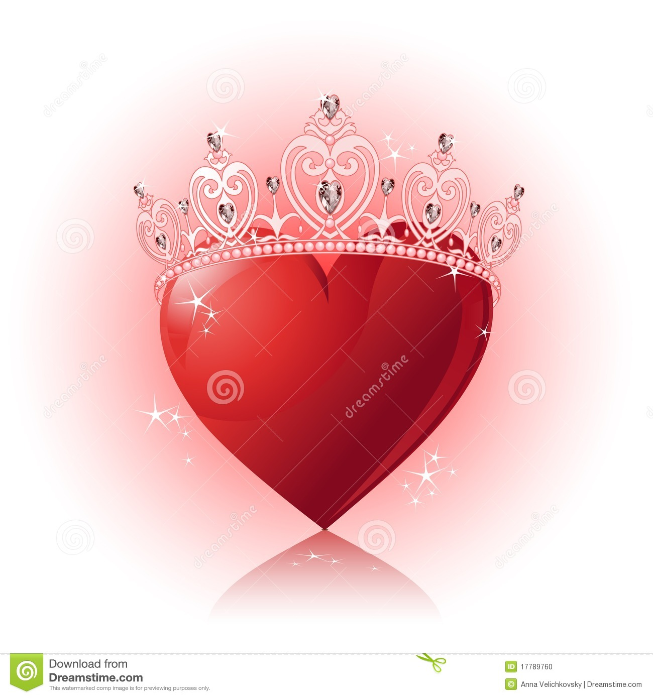 Crystal Heart With Crown Stock Photo - Image: 17789760