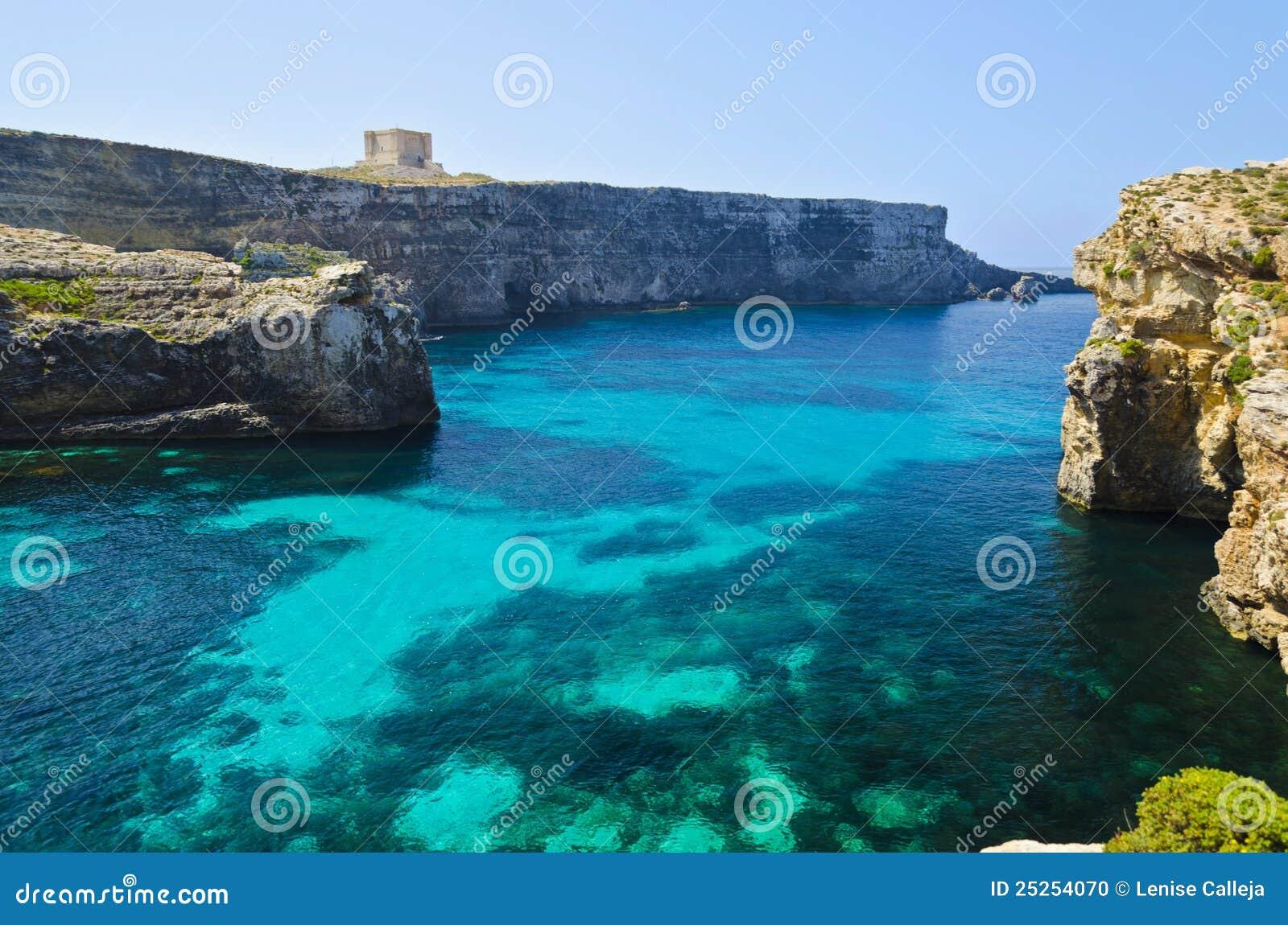 Crystal Lagoon In Comino - Malta Stock Photo - Image of landscape