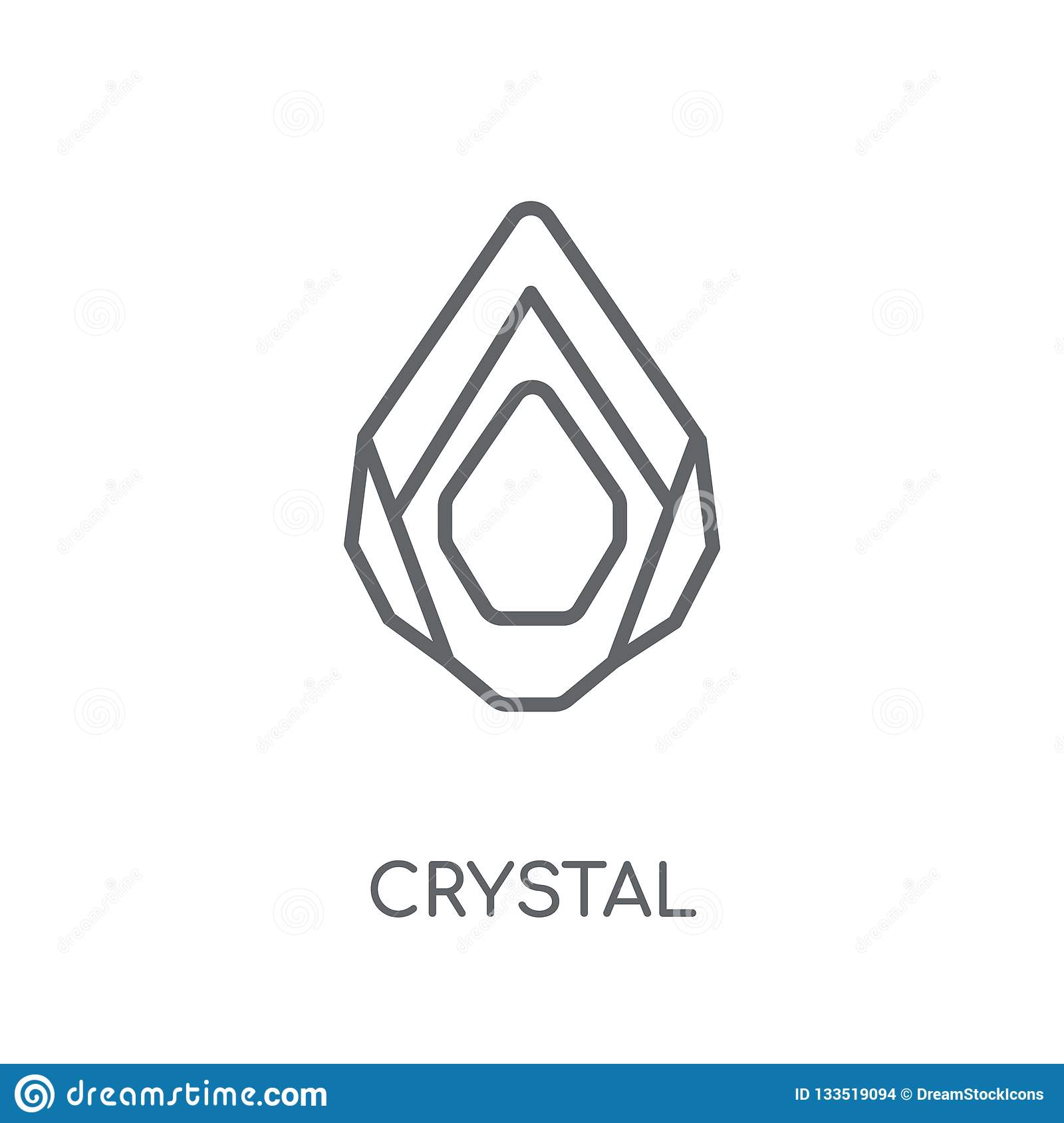 Crystal Linear Icon  Modern Outline Crystal Logo Concept On