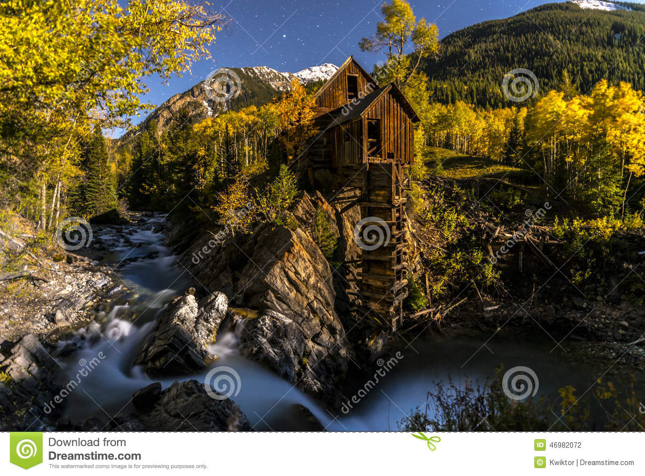 Crystal Mill Bright Starry Night Gunnison le Colorado