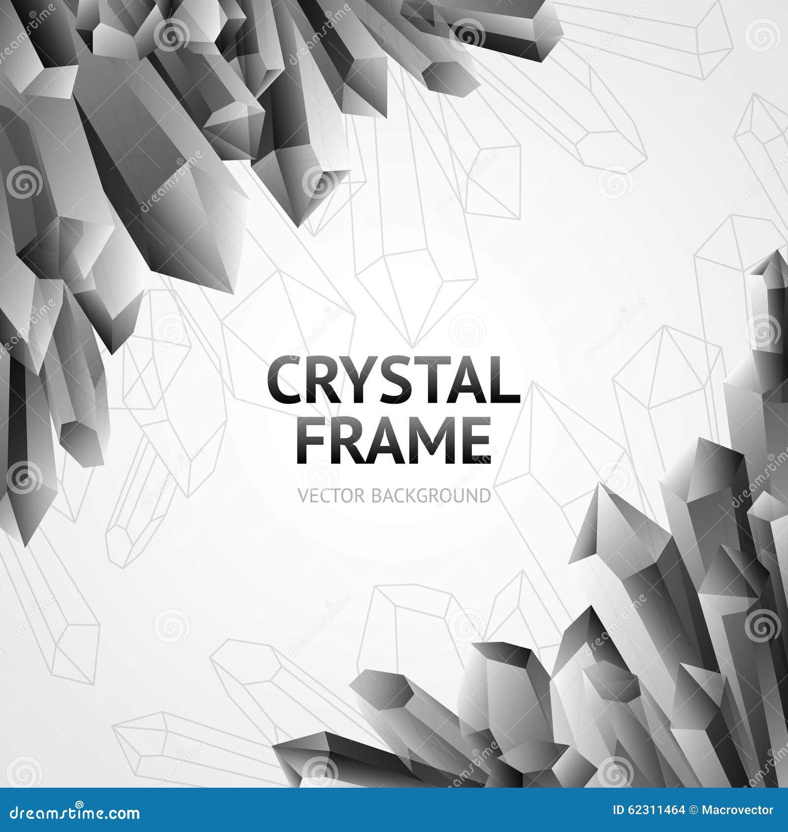 7060f3e466cb Monochrome water ice crystal polygonal shape minerals frame vector  illustration. More similar stock illustrations