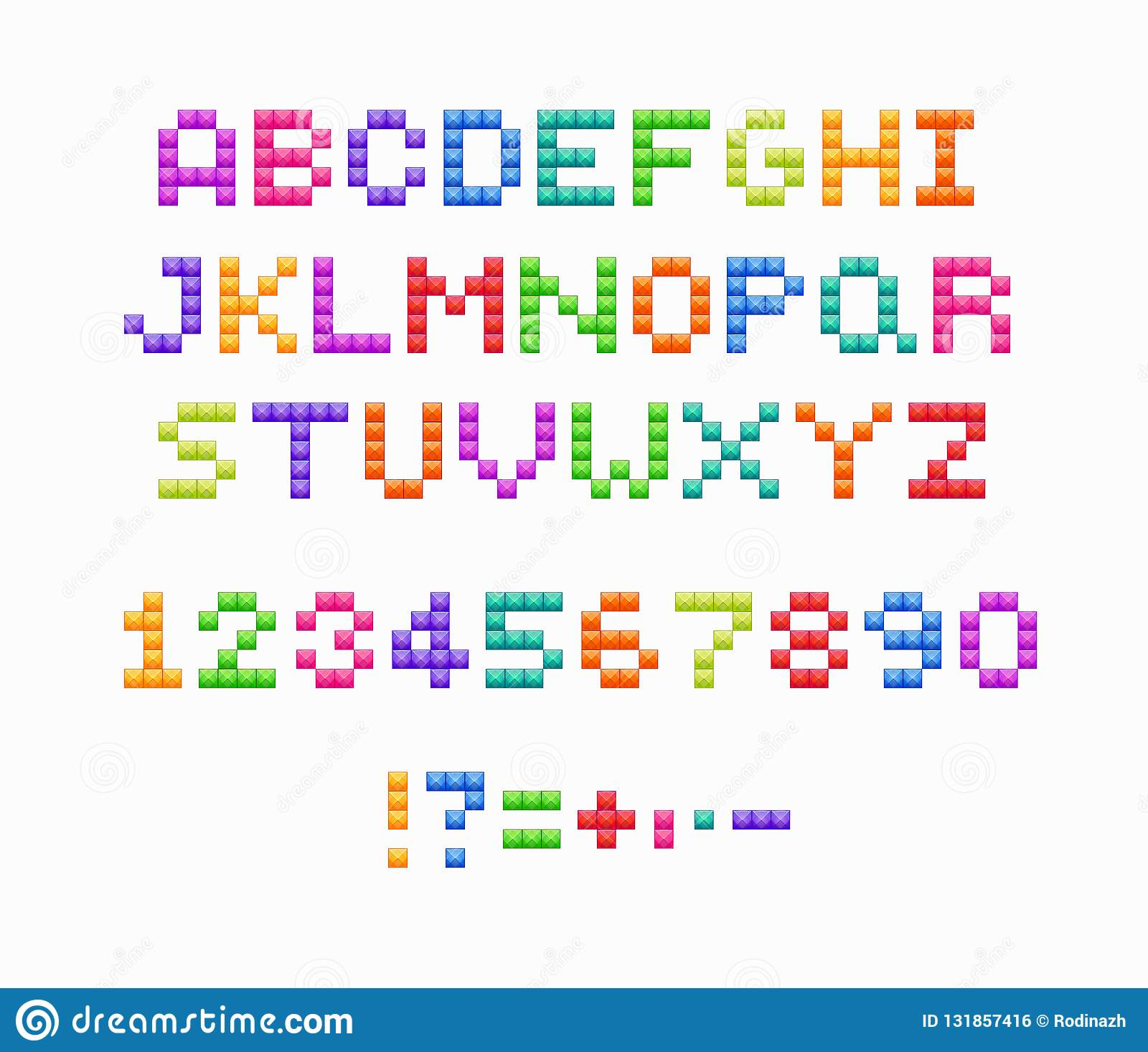 Crystal Pixel Font, Retro Video Game Design. Vector