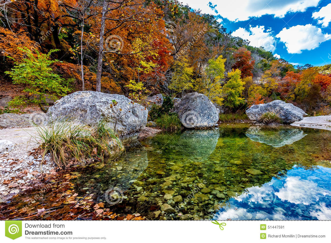 Crystal Pool With Fall Foliage At Lost Maples State Park