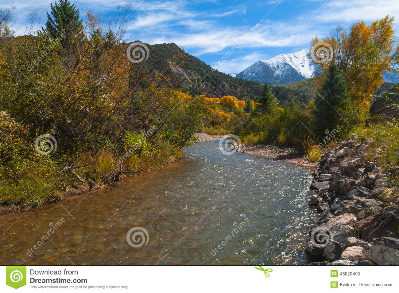 Crystal river colorado fall colors stock photo image for Crystal fall