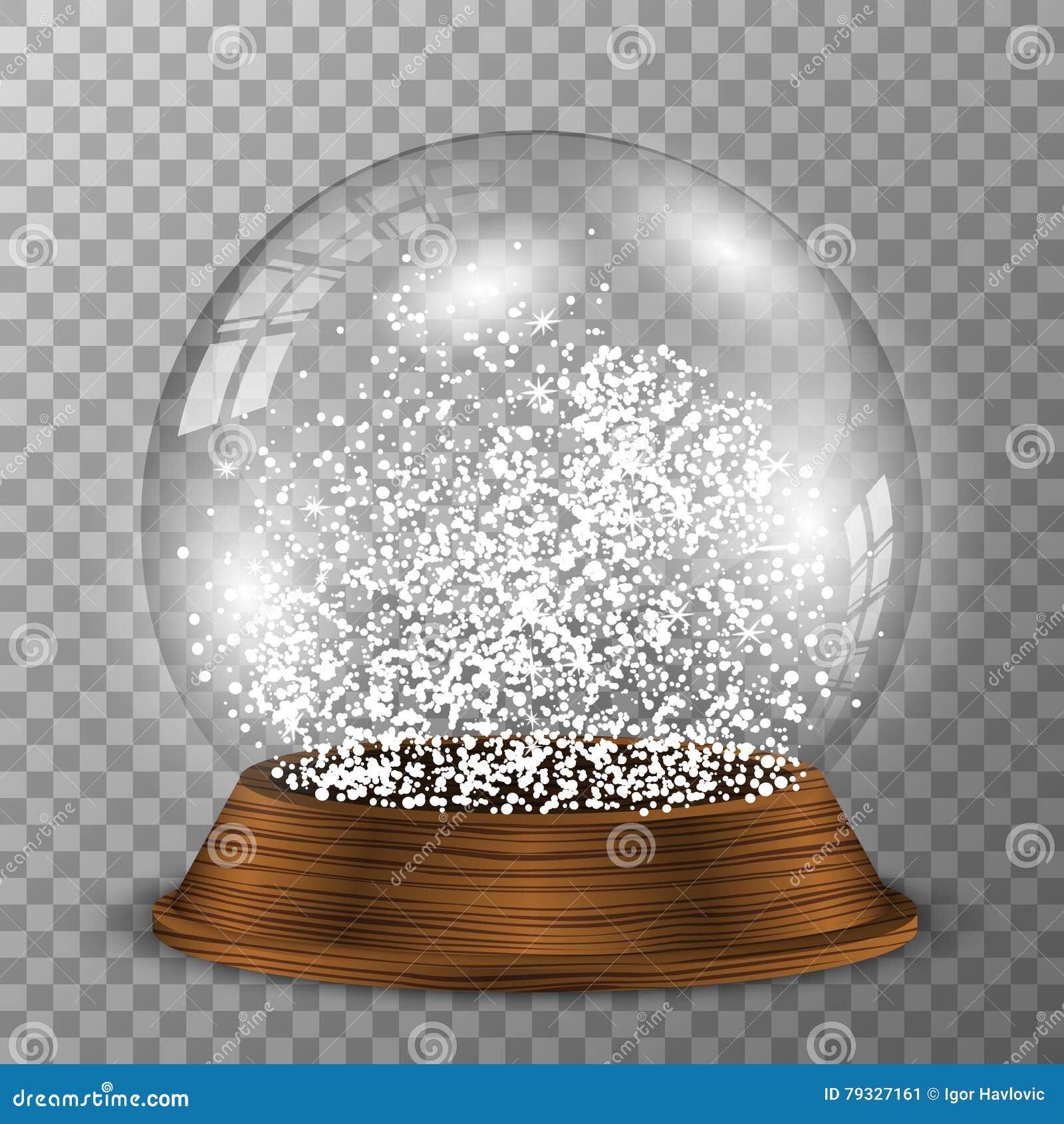 Crystal snöjordklot på träsockel Genomskinlig vektorsnowglobe med wood garnering