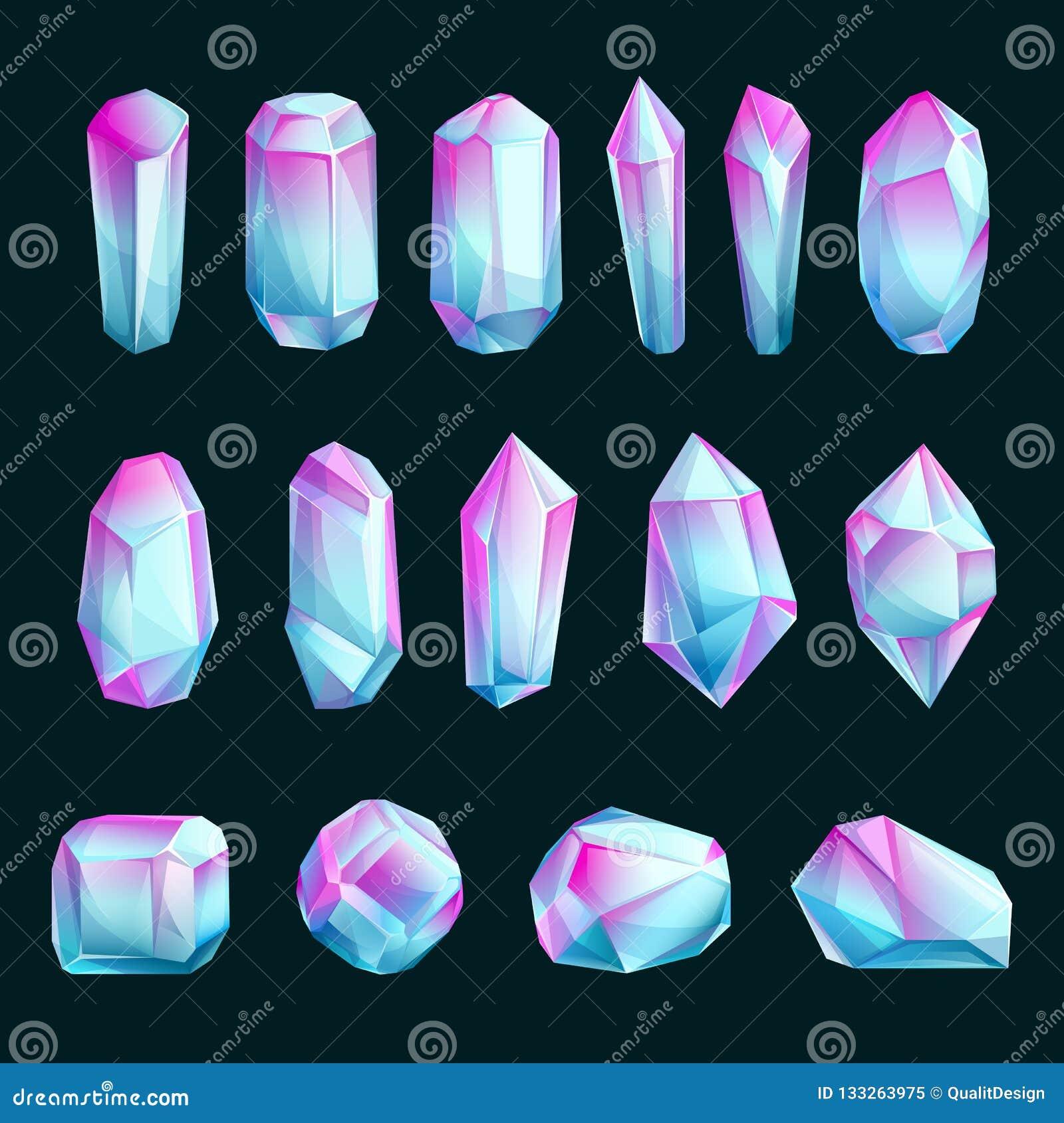 Crystals And Minerals, Vector Cartoon Illustration  Set Of