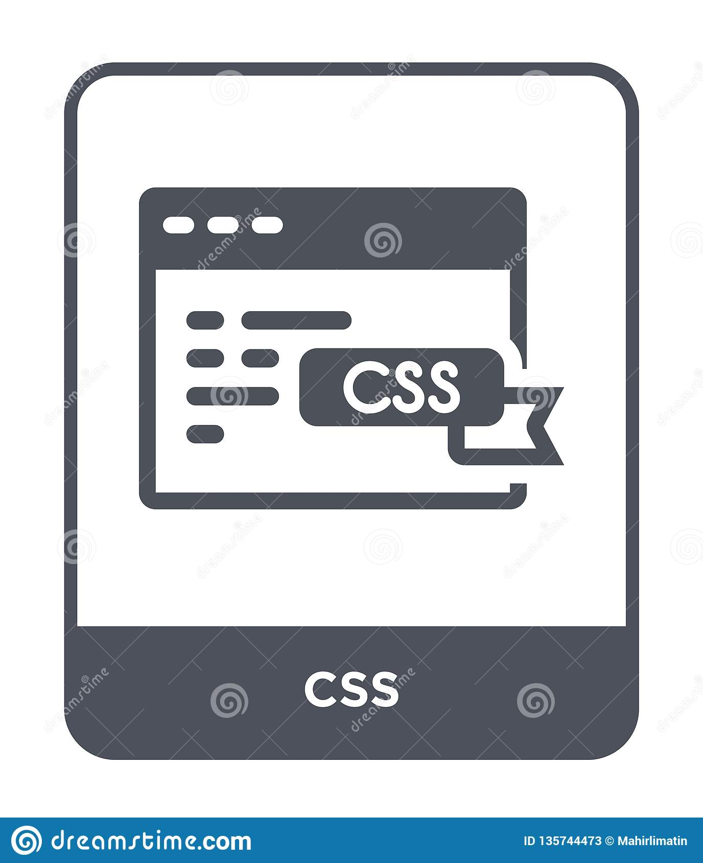 Css Icon In Trendy Design Style Css Icon Isolated On White Background Css Vector Icon Simple And Modern Flat Symbol For Web Site Stock Vector Illustration Of Technology Design 135744473