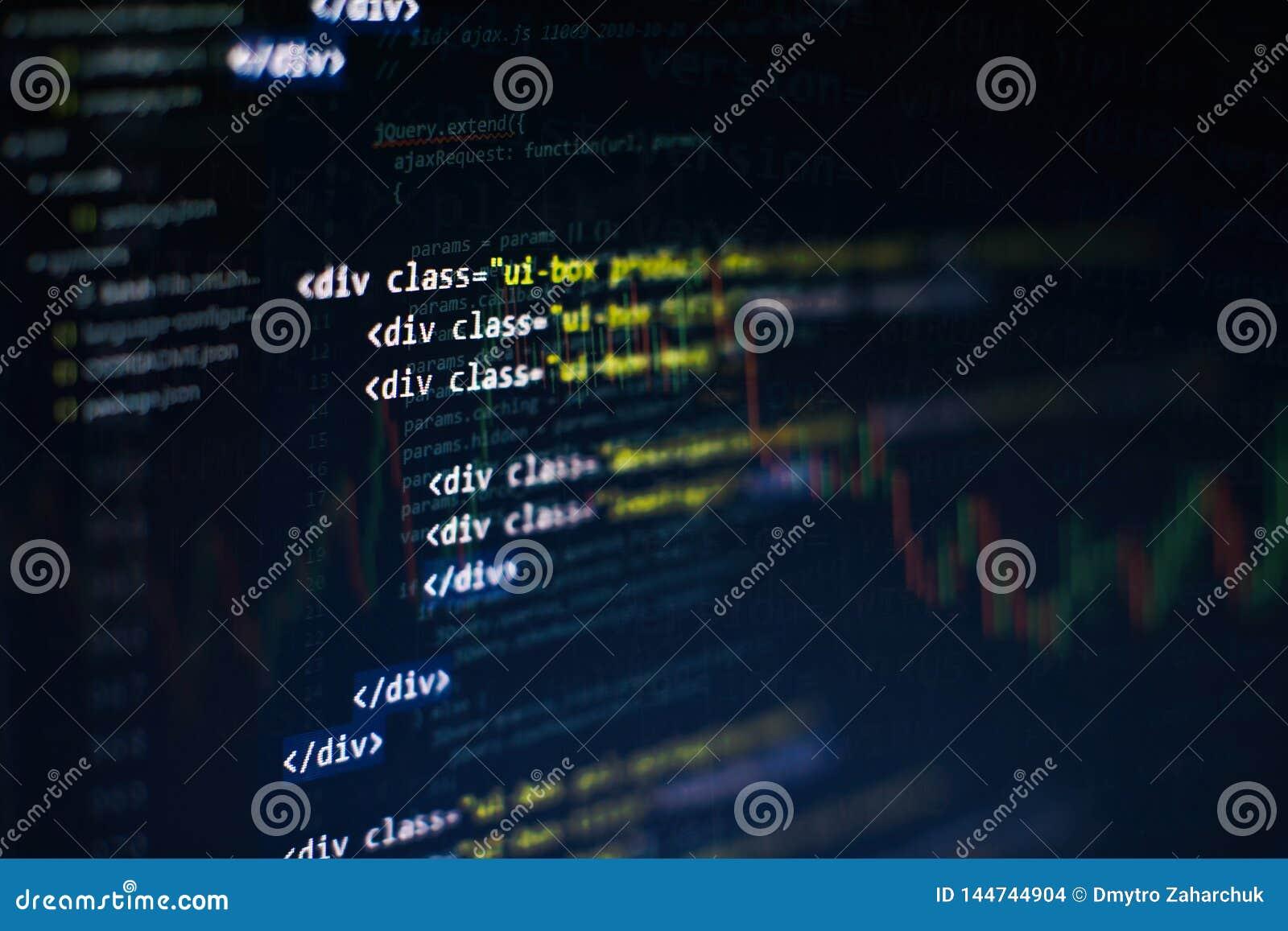 Css-, Javascript- und HTML-Verwendung ?berwachen Sie Nahaufnahme des Funktionsquellcodes Abstrakter IT-Technologiehintergrund Sof