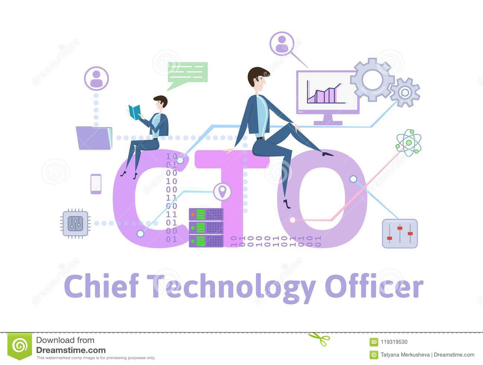 CTO, principal oficial de la tecnología Tabla del concepto con palabras claves, letras e iconos Ejemplo plano coloreado del vecto