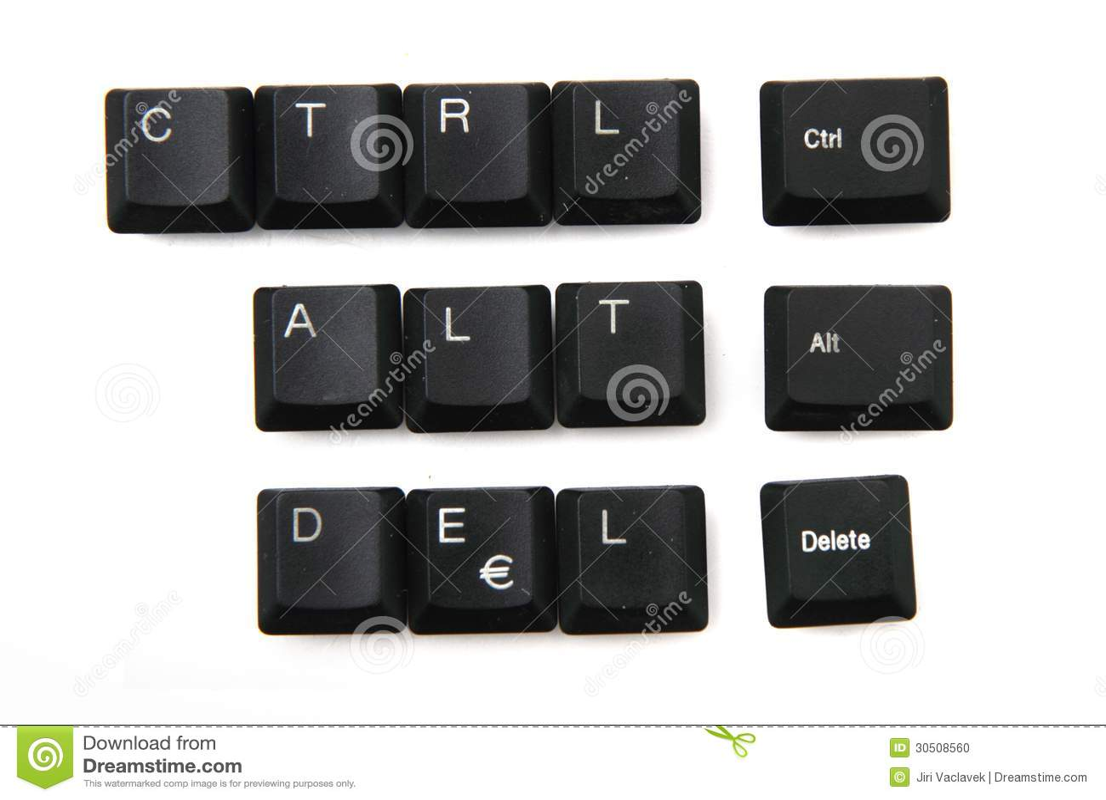 Ctrl alt delete from keyboar keys isolated on the white background