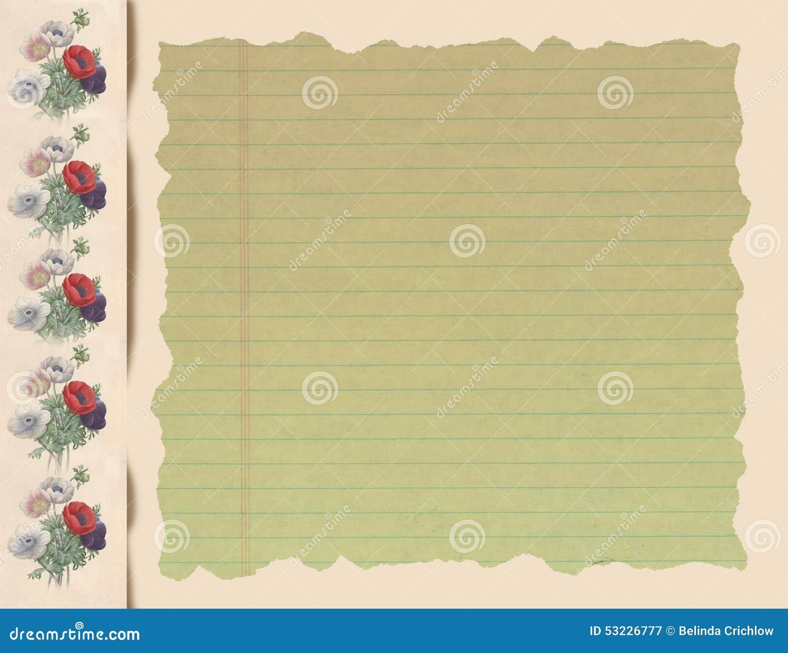 Cuaderno de notas florido romántico
