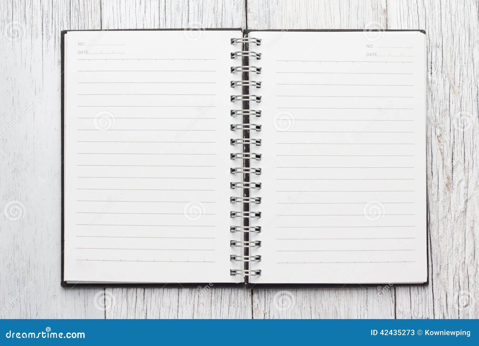 Cuaderno de papel de la paginación