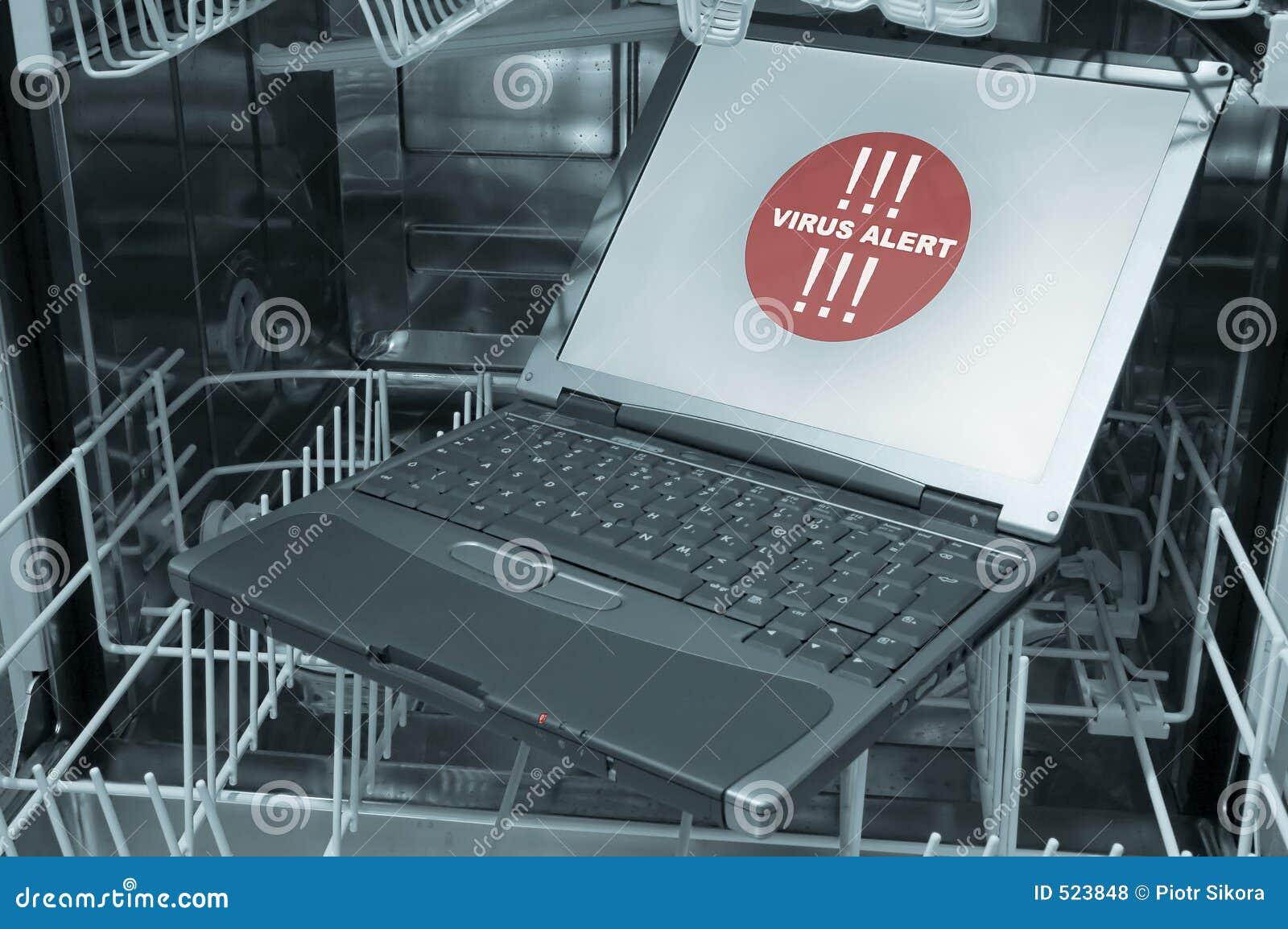 Cuaderno en alarma del virus del lavaplatos 3/4-