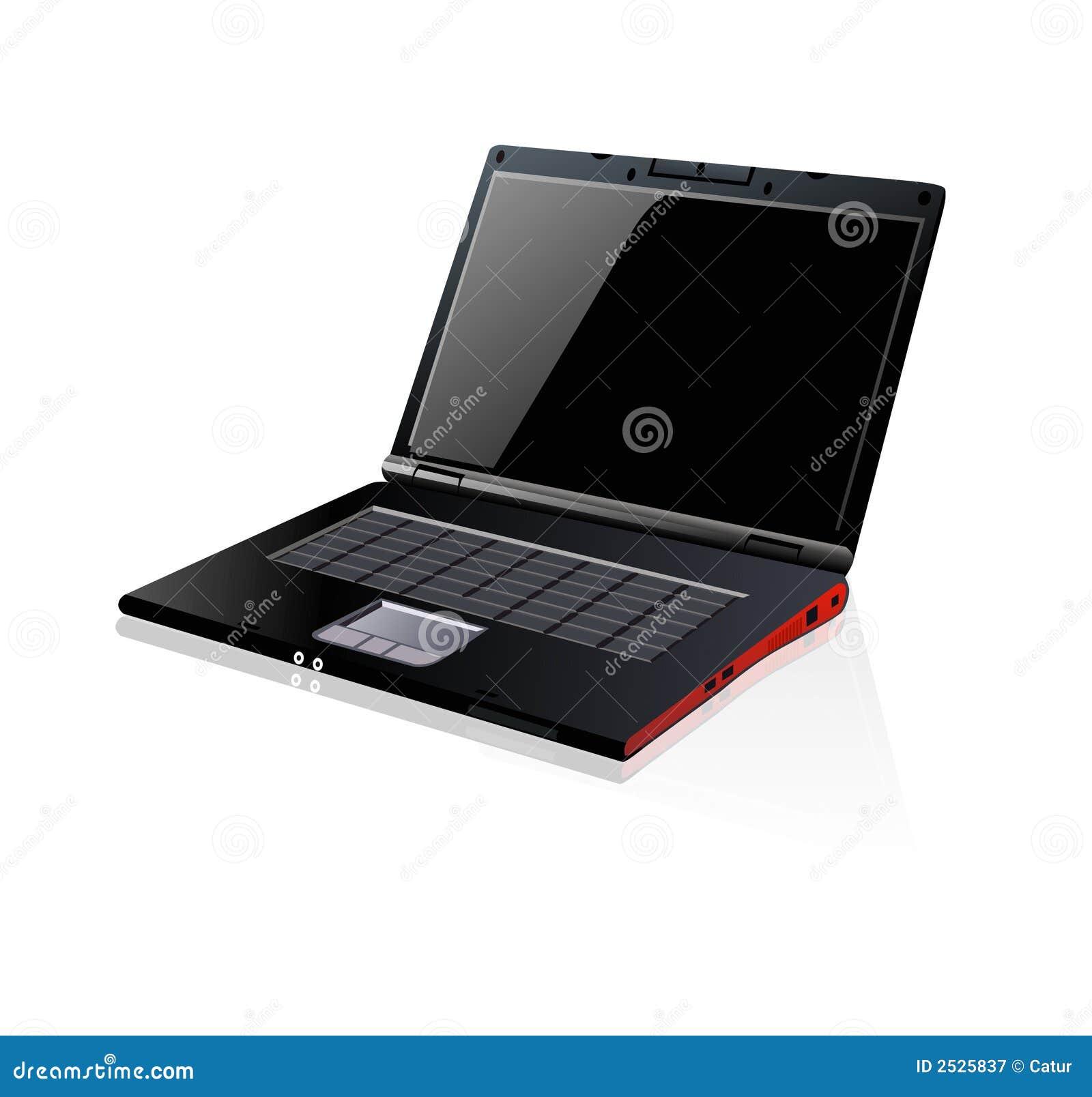 Cuaderno negro de la computadora portátil